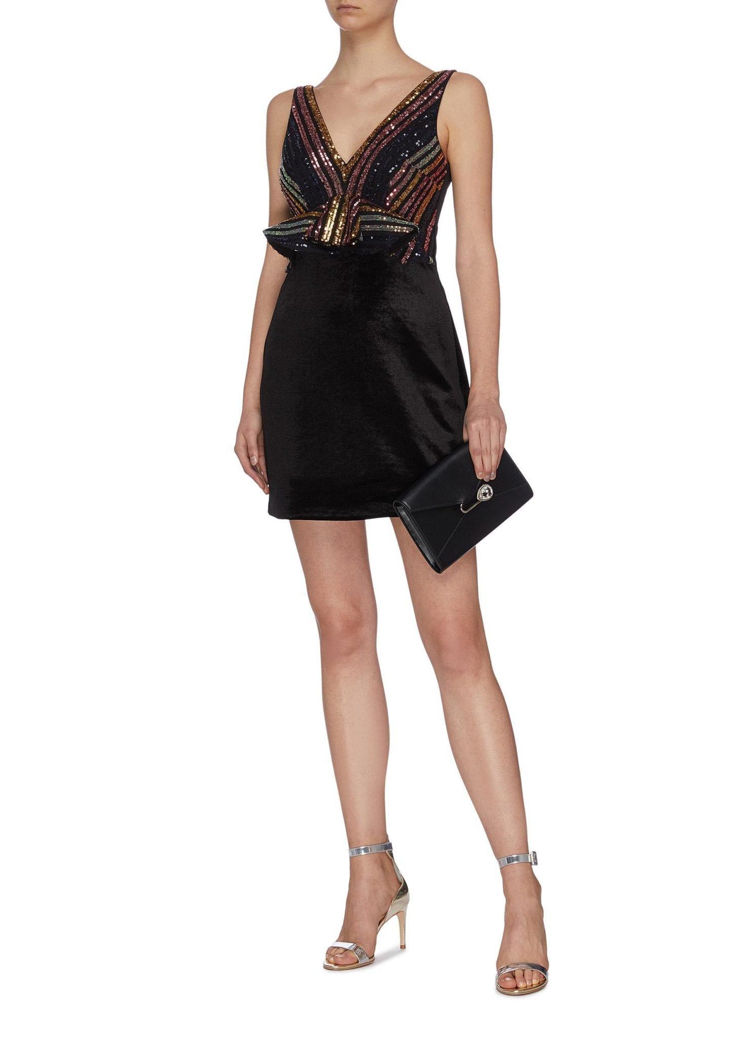 SELF-PORTRAIT Stripe Sequin Embellished Mini Dress