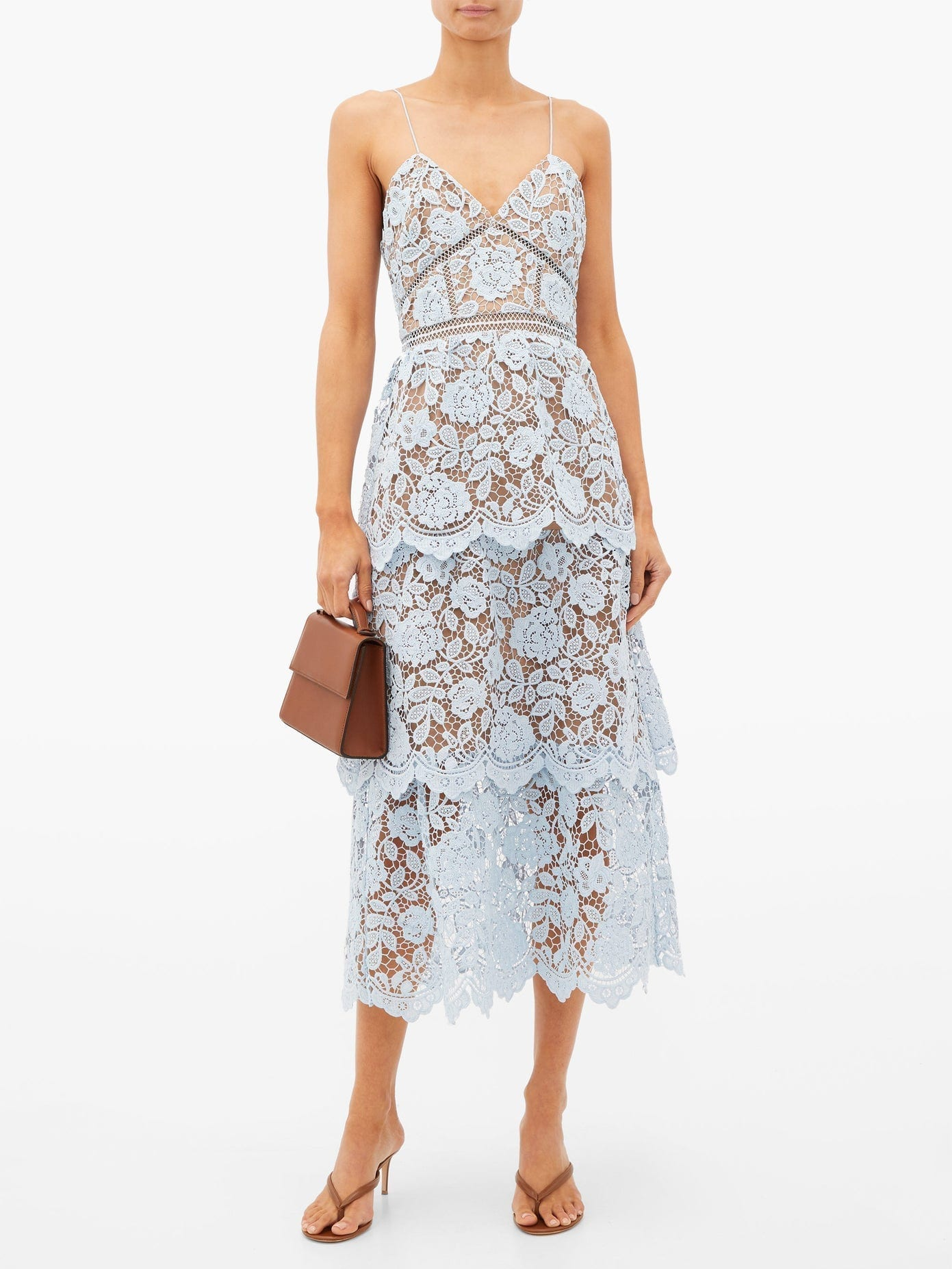 SELF-PORTRAIT Tiered Floral-lace Midi Dress