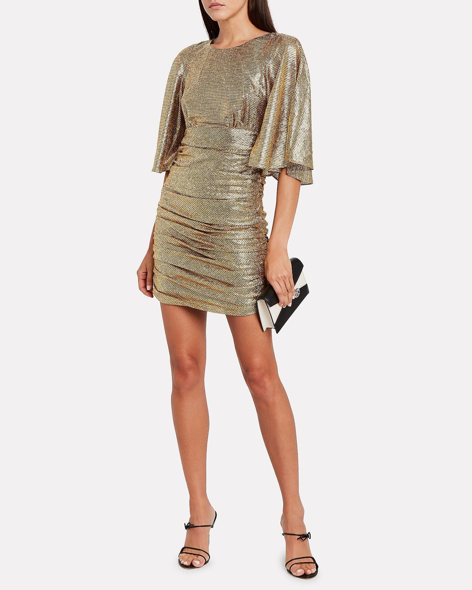 SHONA JOY Cleo Ruched Metallic Mini Dress