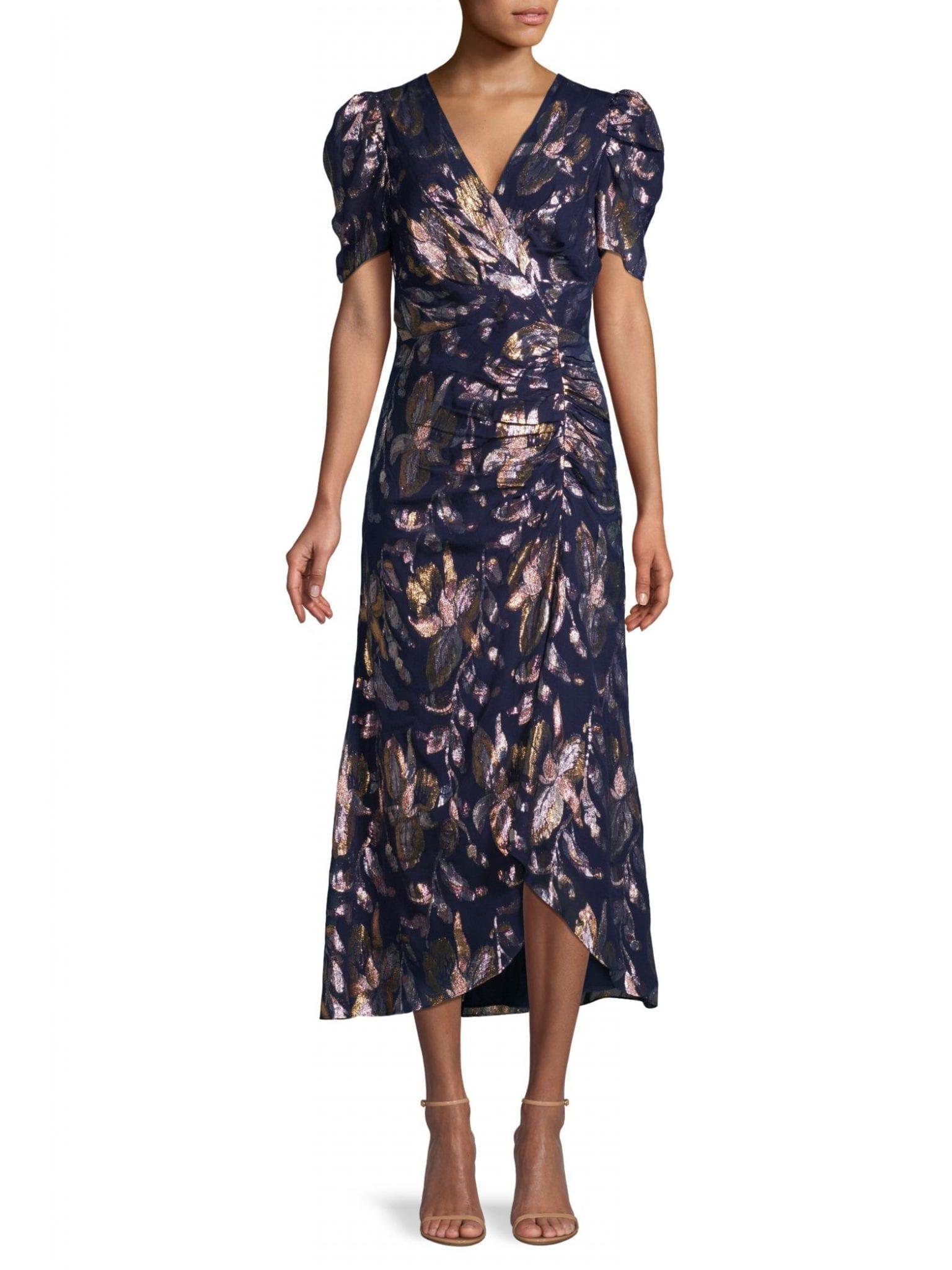 SHOSHANNA Chloe Metallic Floral Dress