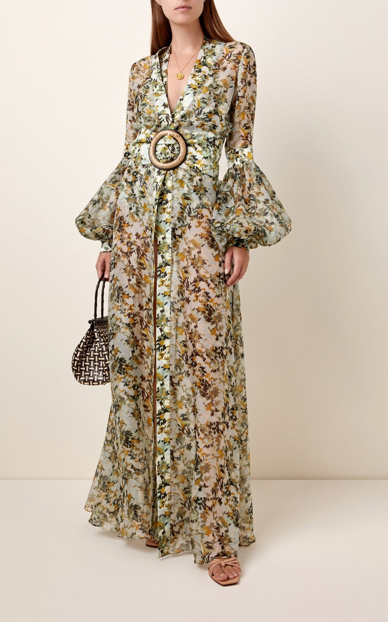 SILVIA TCHERASSI Farolillo Belted Silk-Chiffon Maxi Dress
