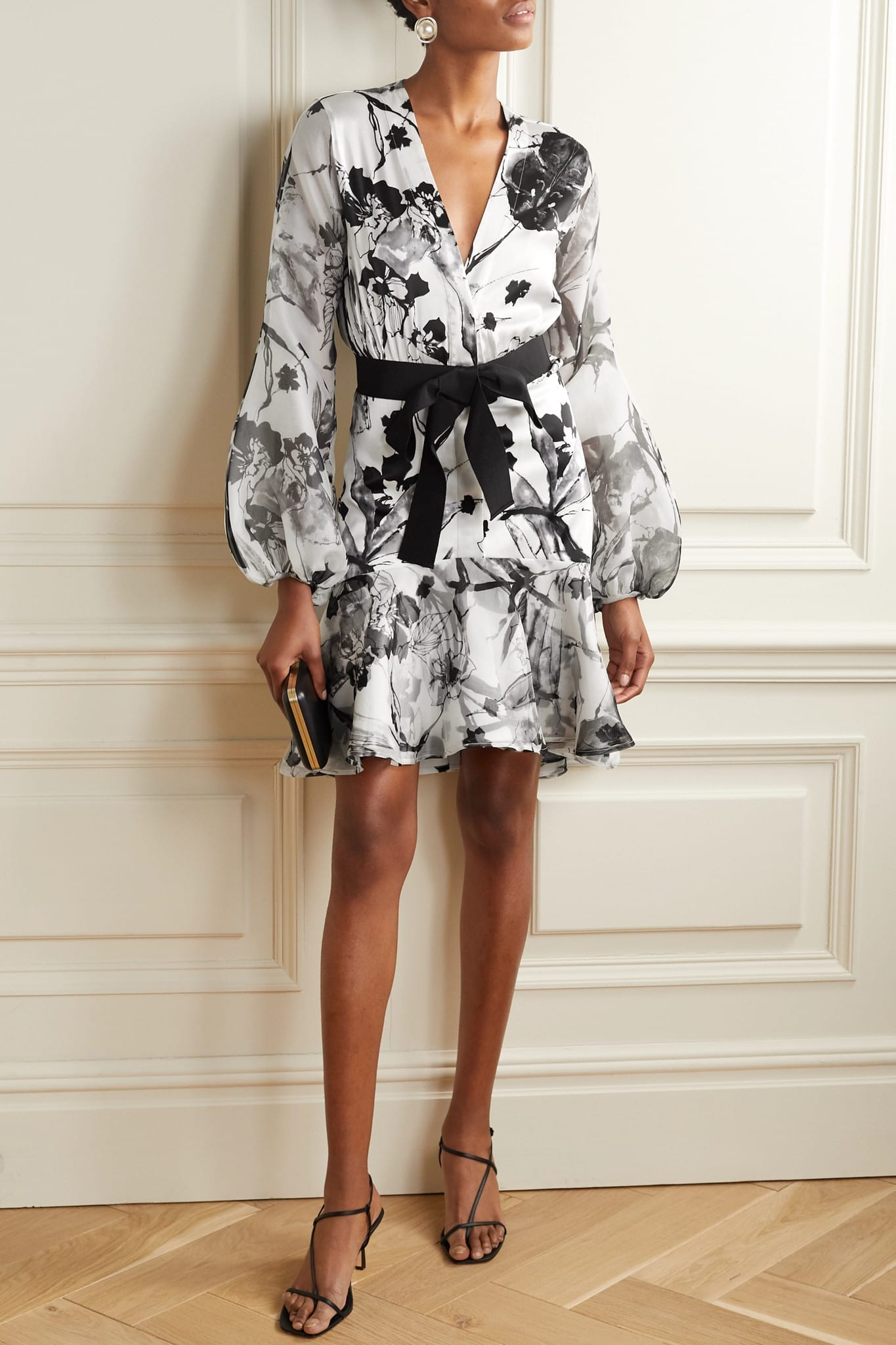 SILVIA TCHERASSI Galena Floral-print Silk-blend Satin And Organza Dress