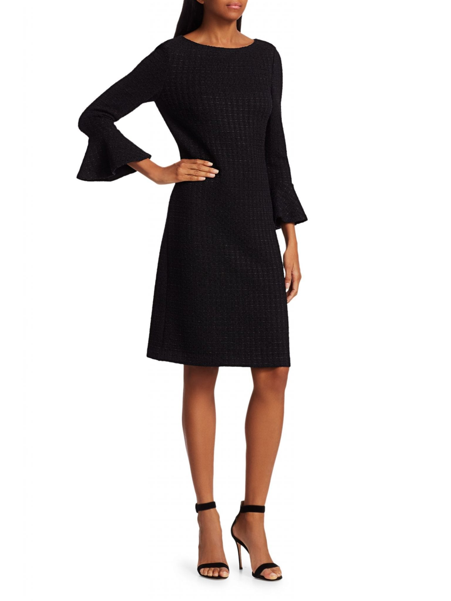 ST. JOHN Ribbon Textured Windowpane Bell-Sleeve Sheath Dress