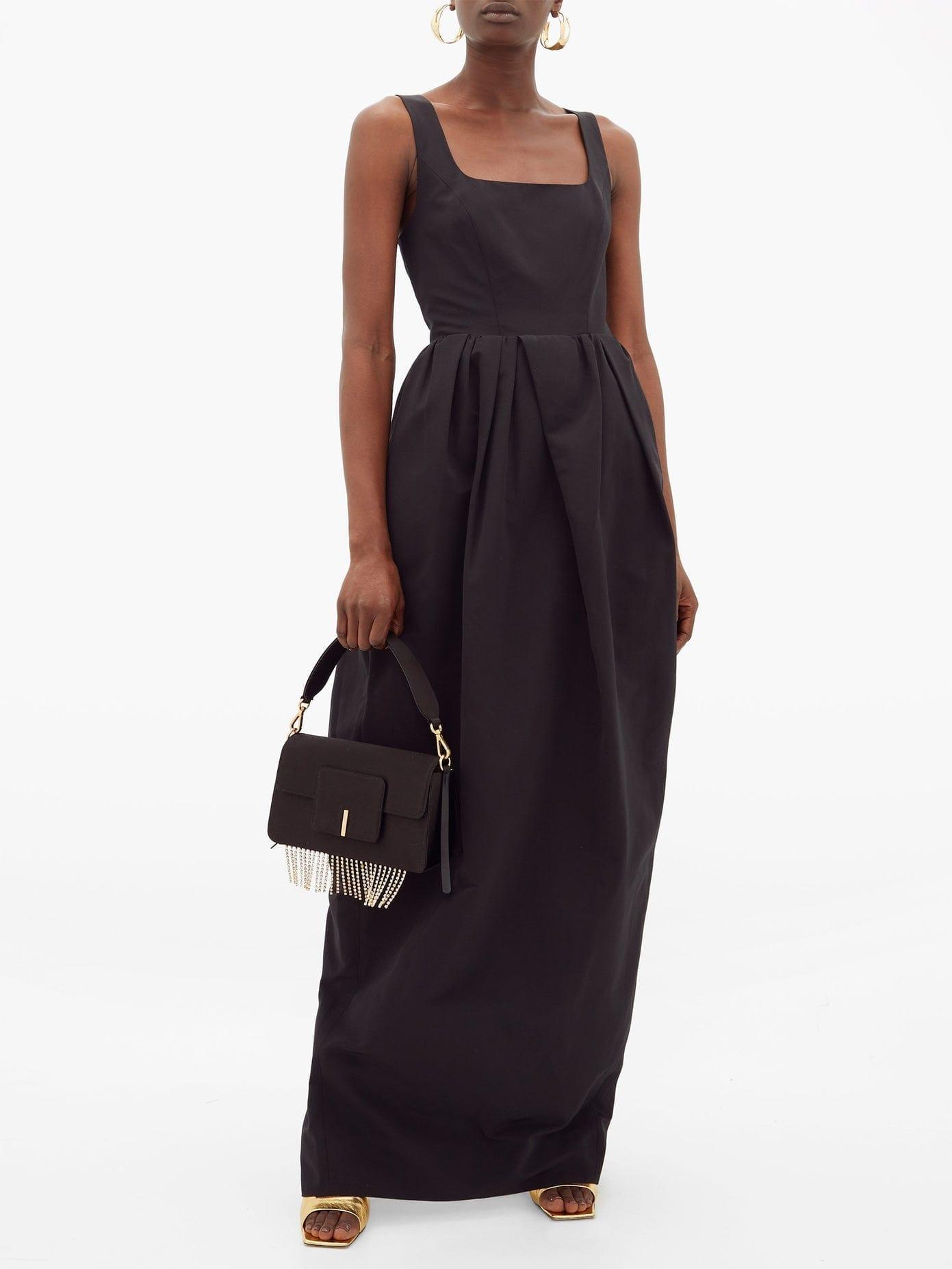 STAUD Square-neck Cotton-blend Faille Maxi Dress