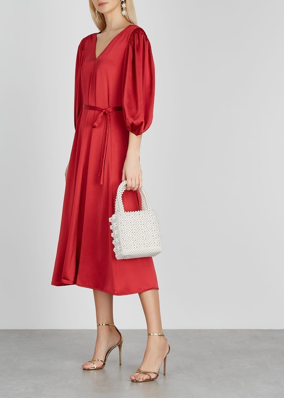 STINE GOYA Marlen Red Satin Midi Dress