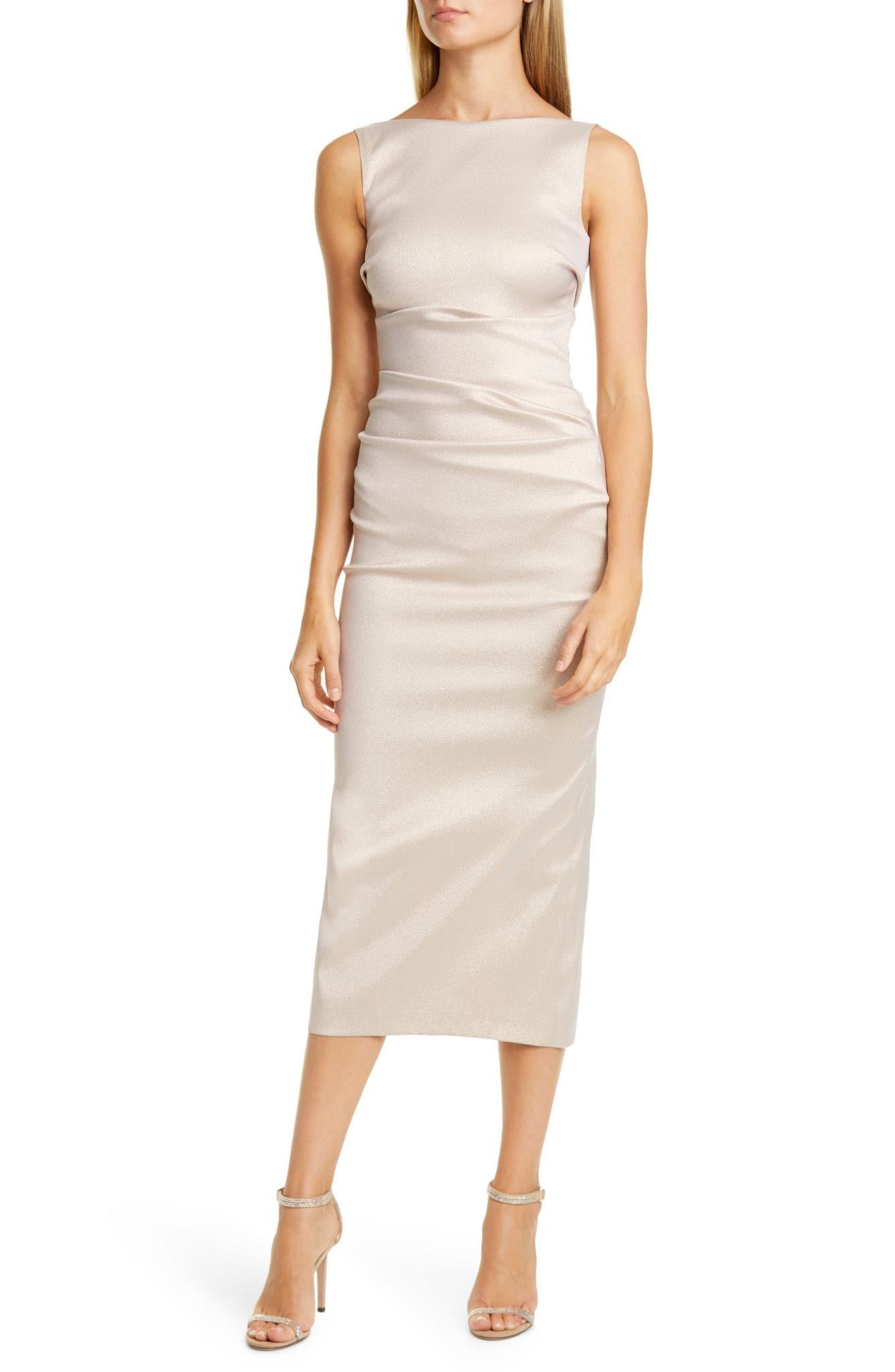TALBOT RUNHOF Sorbet Gazar Midi Cocktail Dress