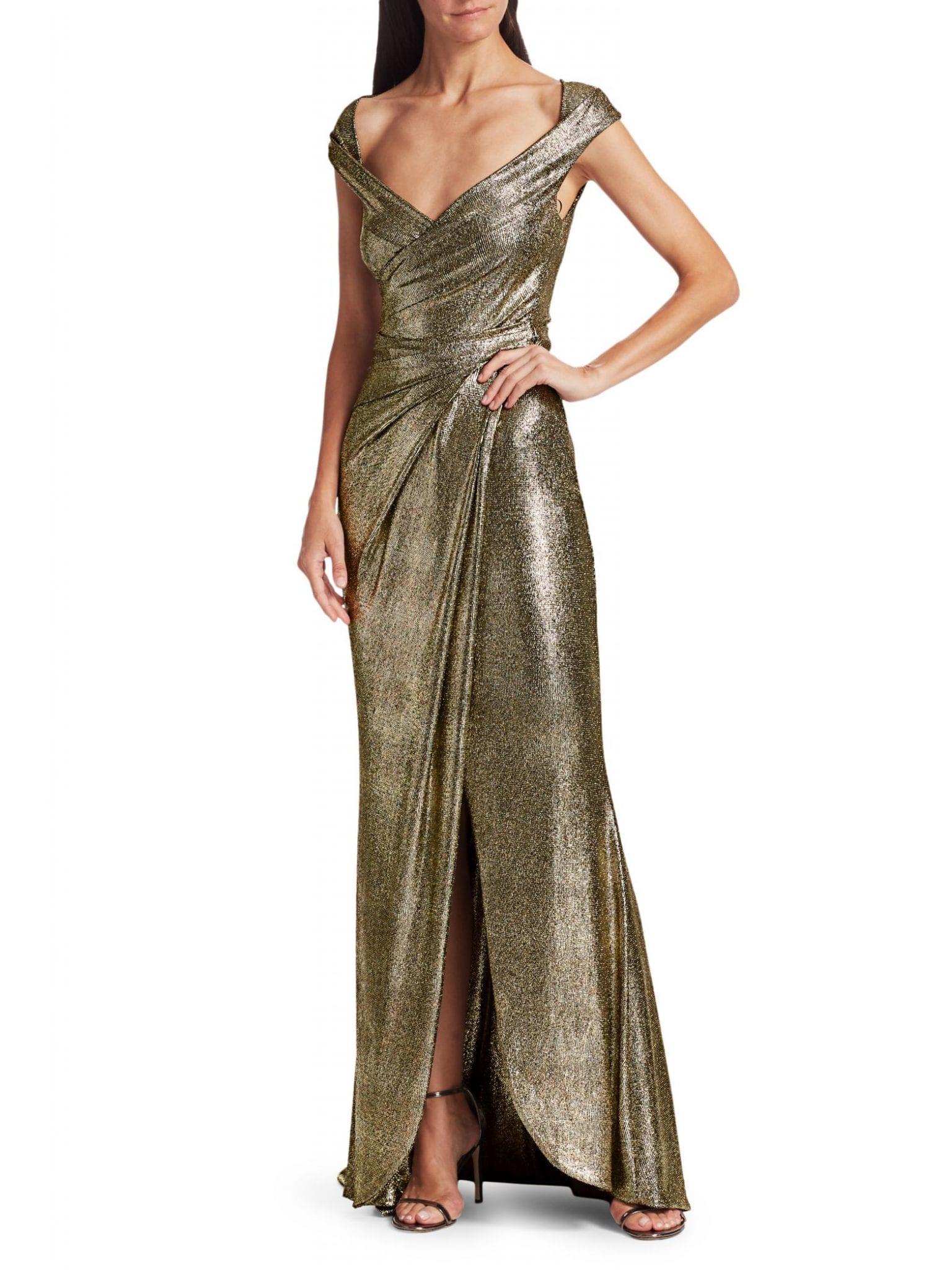 TALBOT RUNHOF Stingray Metallic Cap-Sleeve Wrap Gown