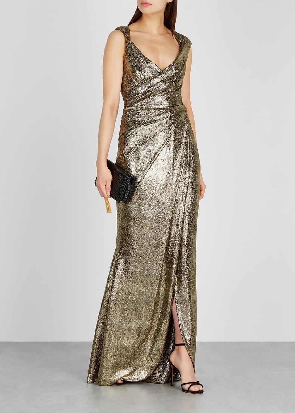TALBOT RUNHOF Towanda Gold Foil-print Gown