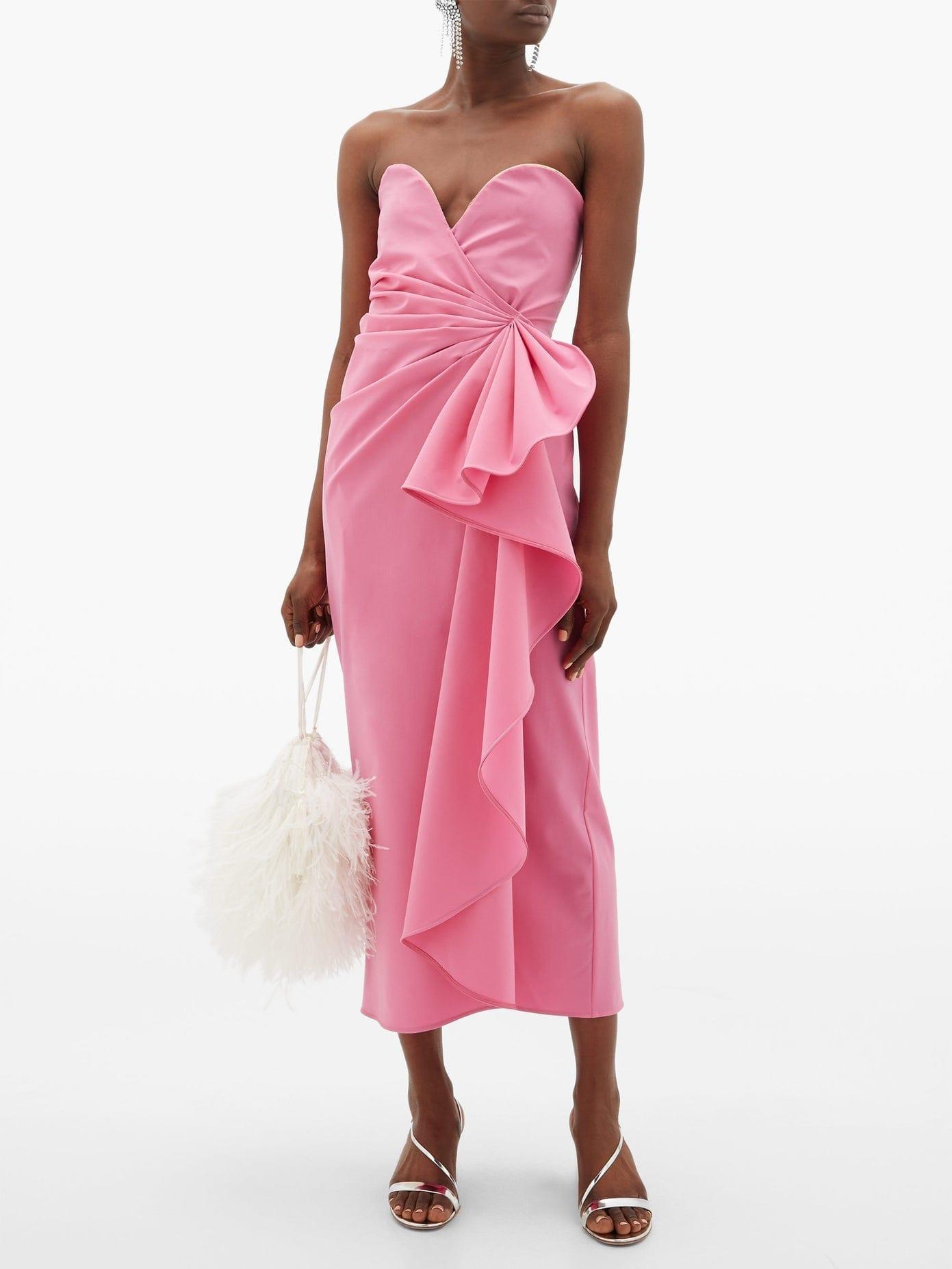 THE ATTICO Bustier Draped Wool-blend Dress