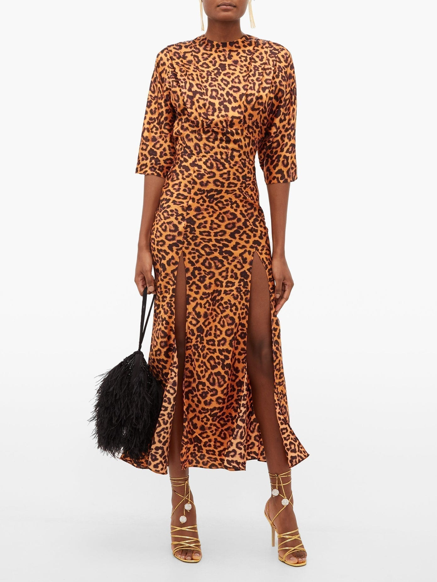 THE ATTICO Side-slit Leopard-print Satin Dress