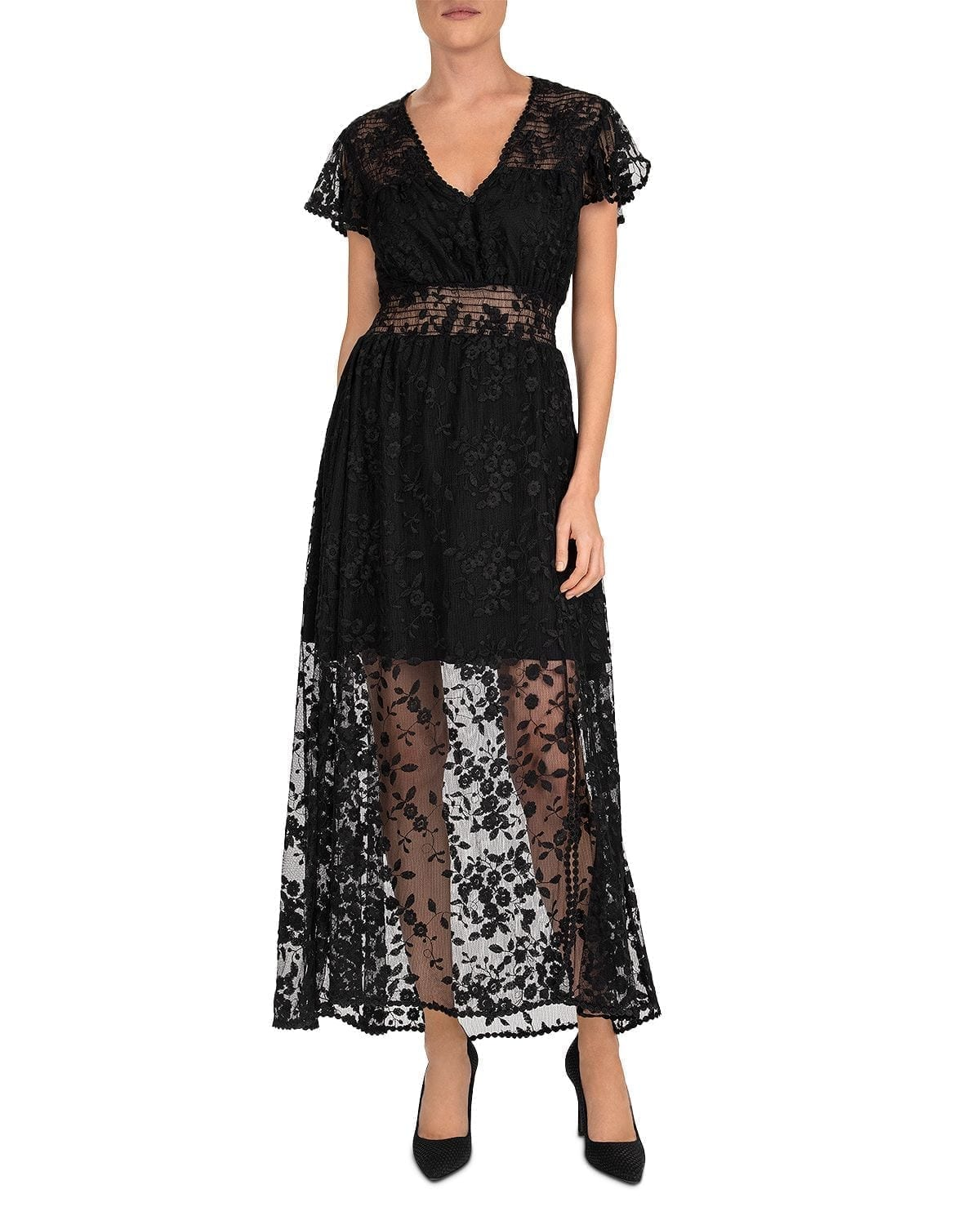 THE KOOPLES Floral Tulle Maxi Dress