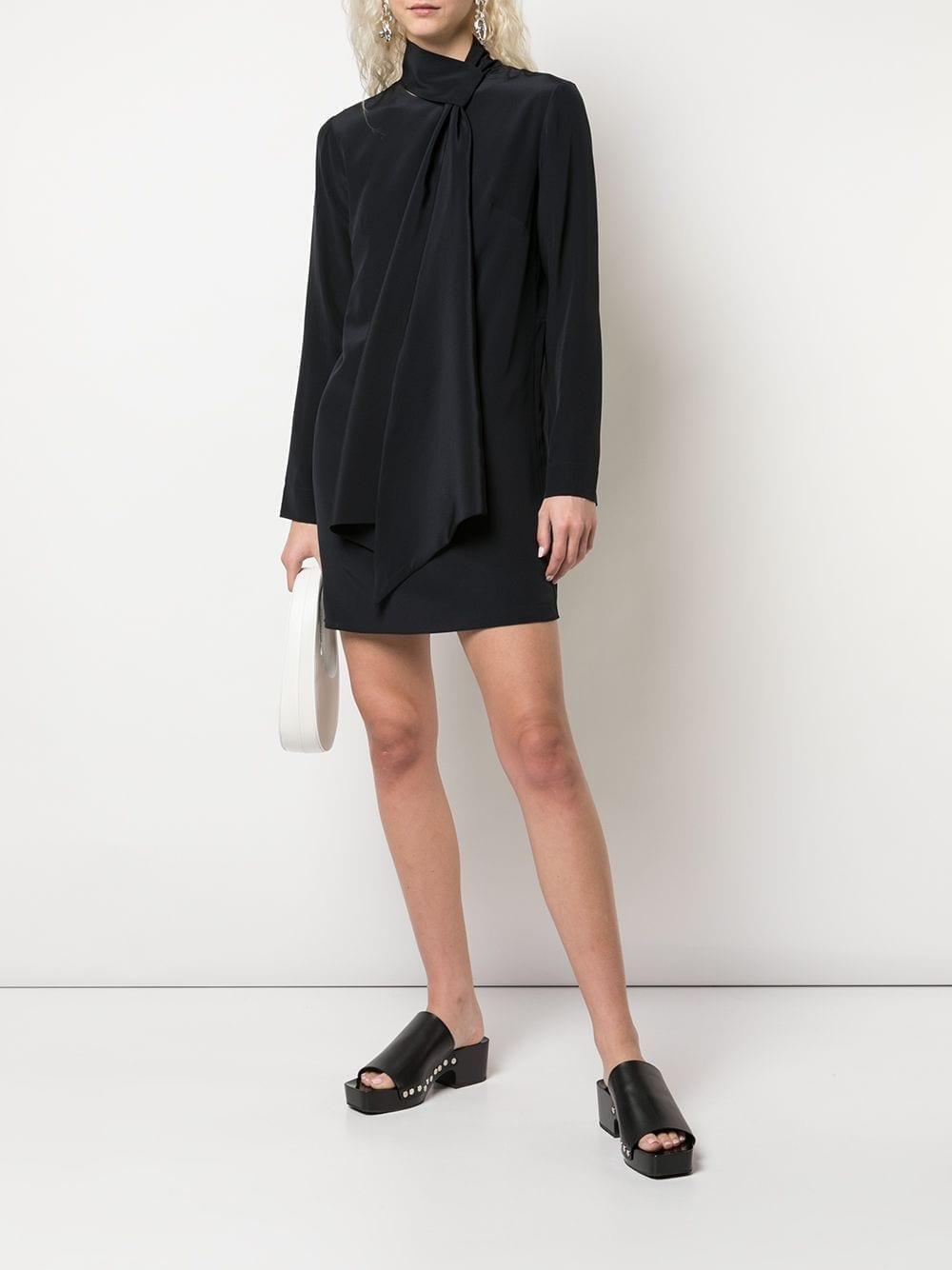 TIBI Silk Tie Neck Dolman Mini Dress
