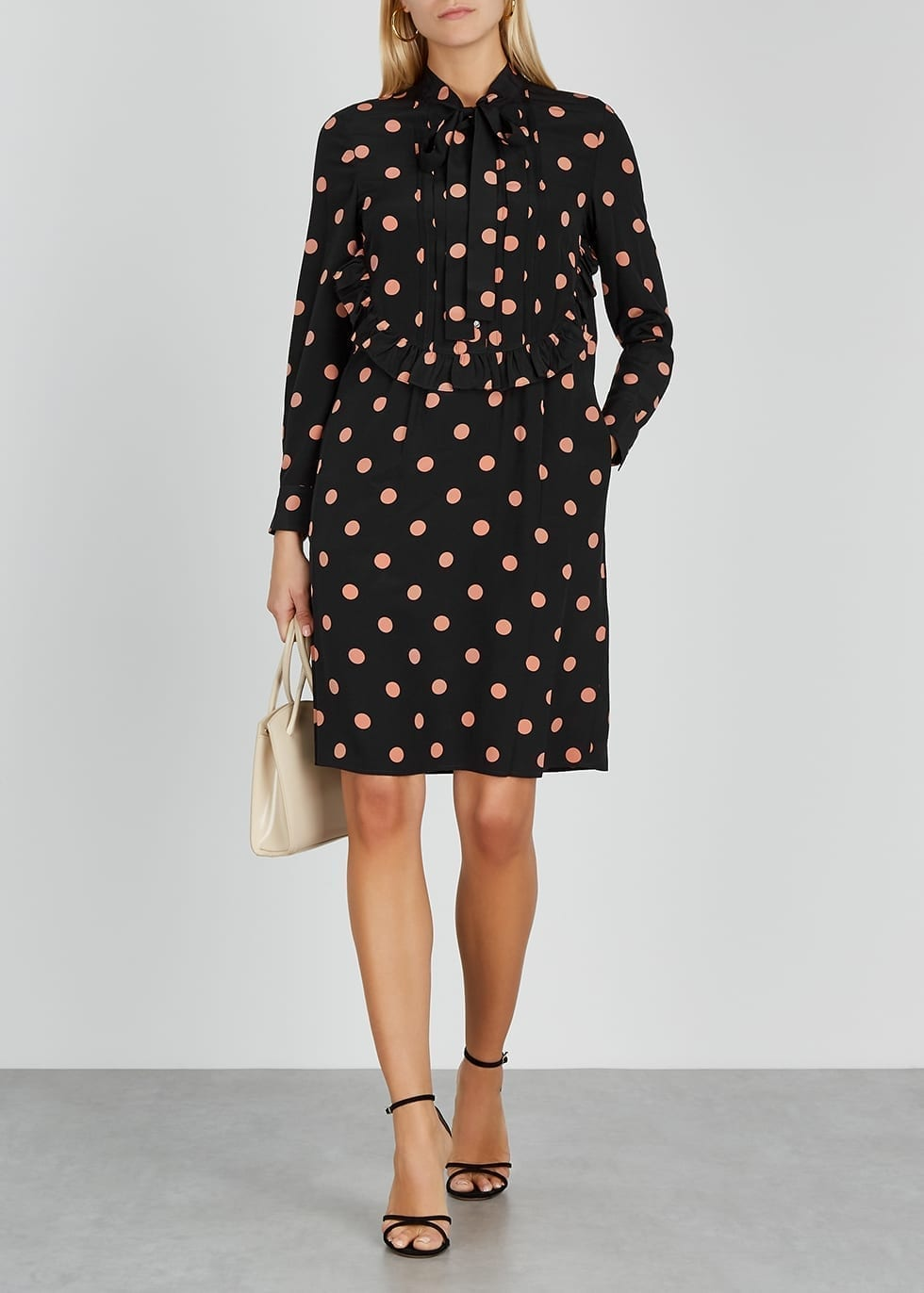 TORY BURCH Black Polka-dot Silk Crepe De Chine Dress