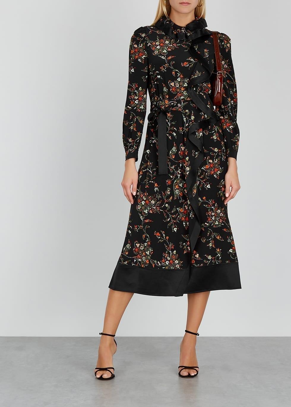 TORY BURCH Floral-print Ruffled Silk Midi Dress