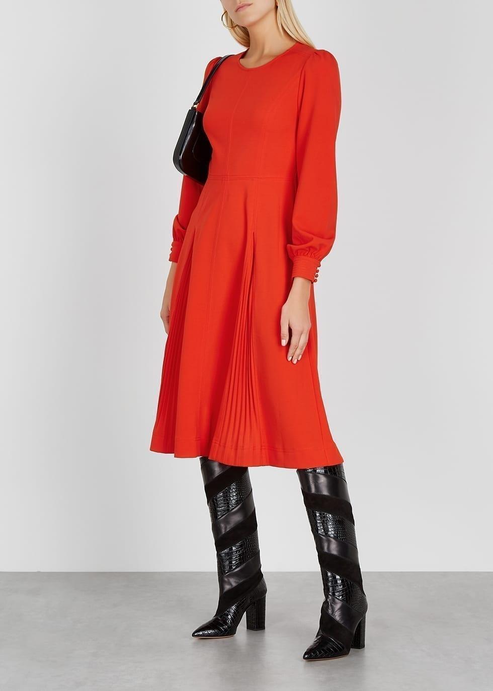 TORY BURCH Red Stretch-cady Midi Dress
