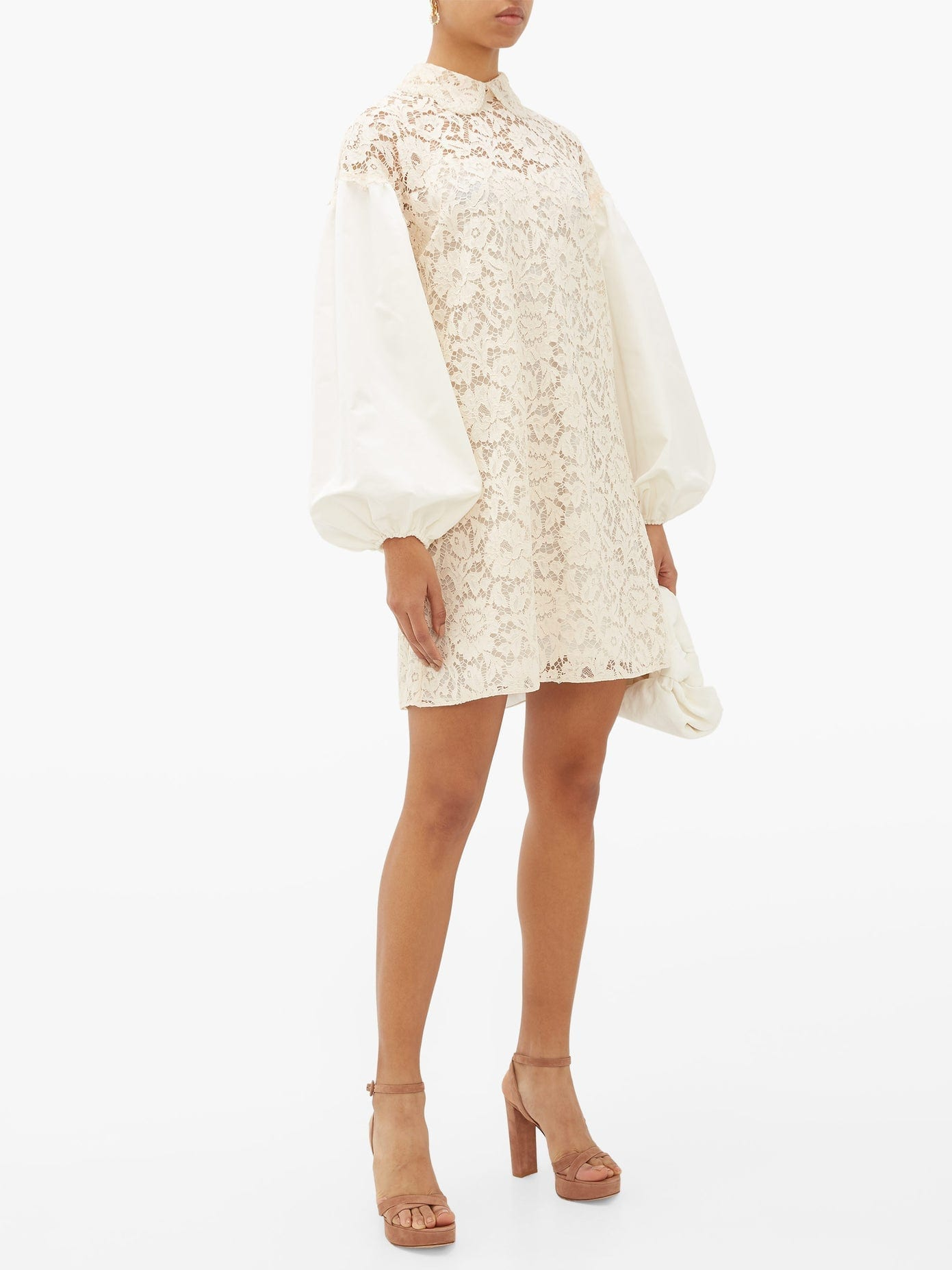VALENTINO Balloon-sleeve Lace Mini Dress