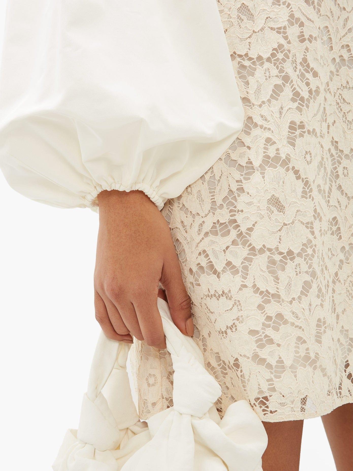 VALENTINO Balloon-sleeve Lace Mini Dress