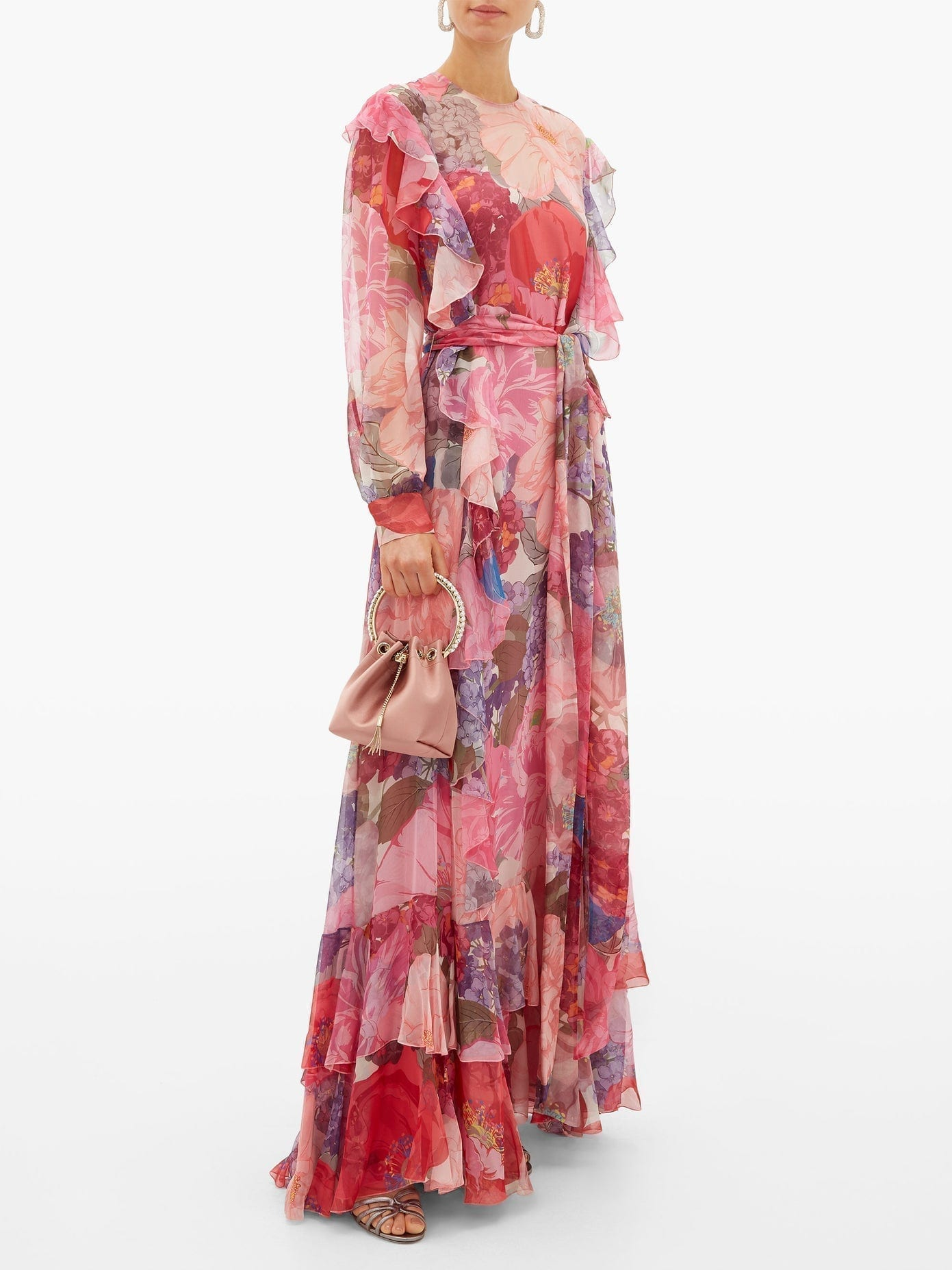 VALENTINO Floral-print Ruffled Belted Chiffon Gown
