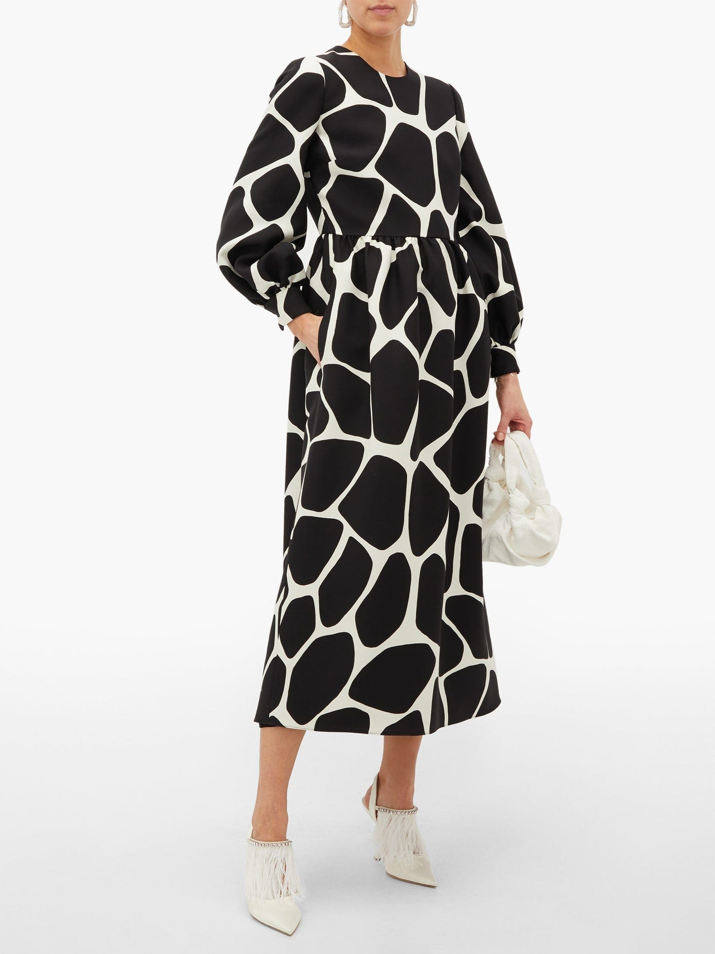 VALENTINO Giraffe-Print Wool-Blend Dress