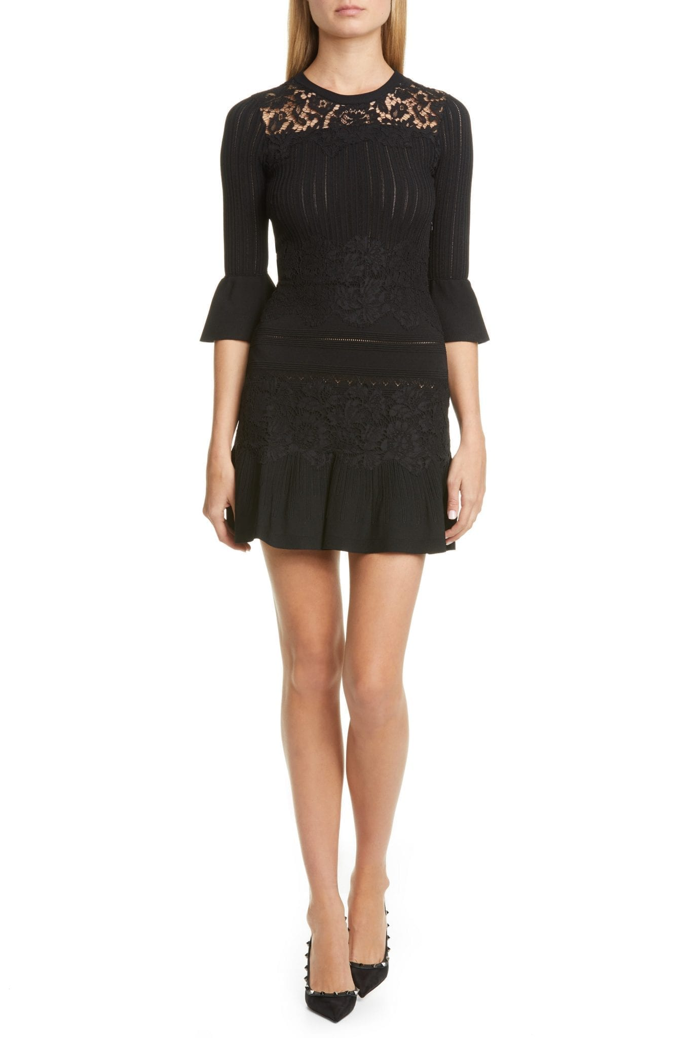 VALENTINO Lace Trim Sweater Dress