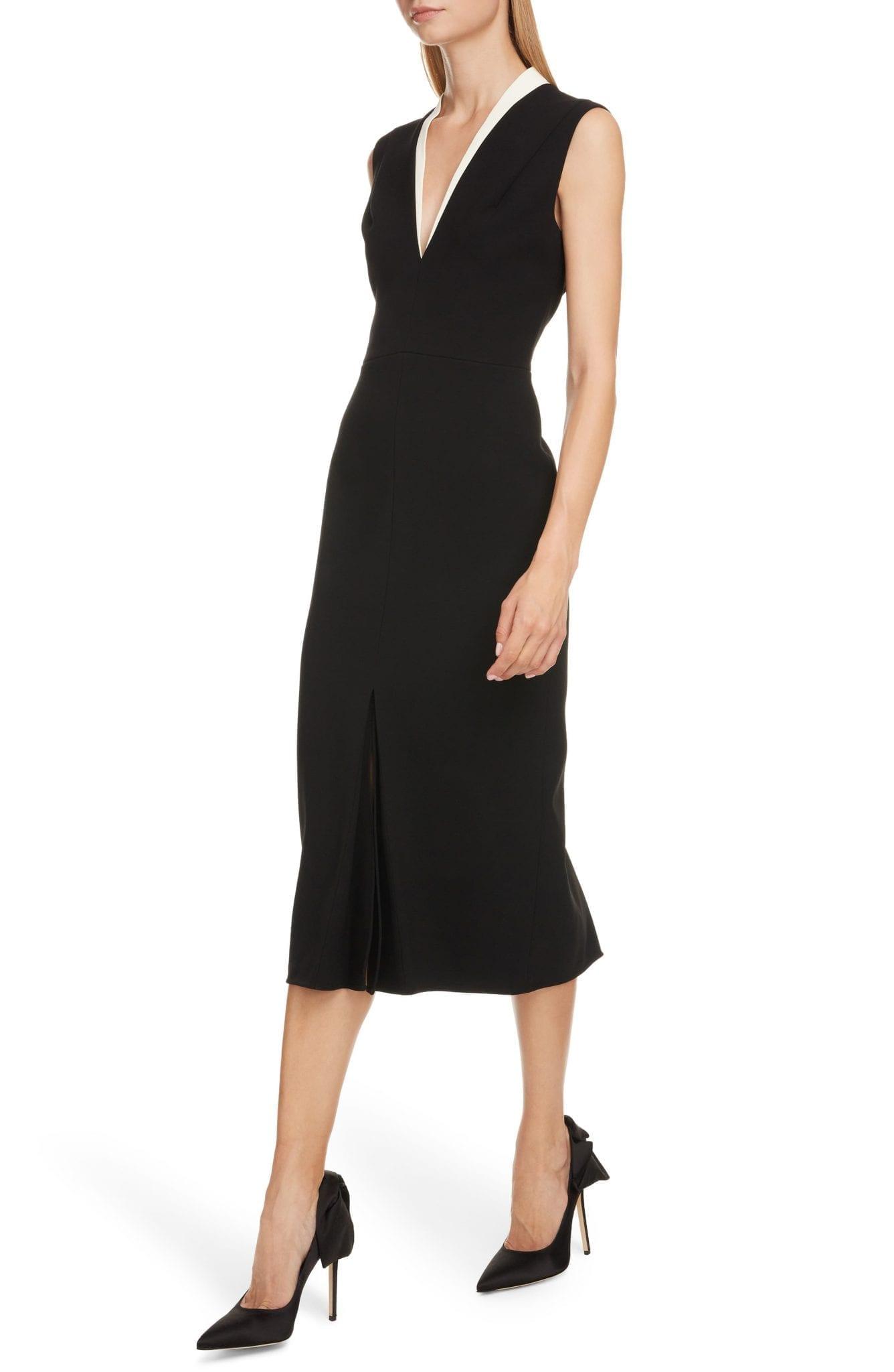 VICTORIA BECKHAM Contrast Collar Bonded Crepe Midi Sheath Dress