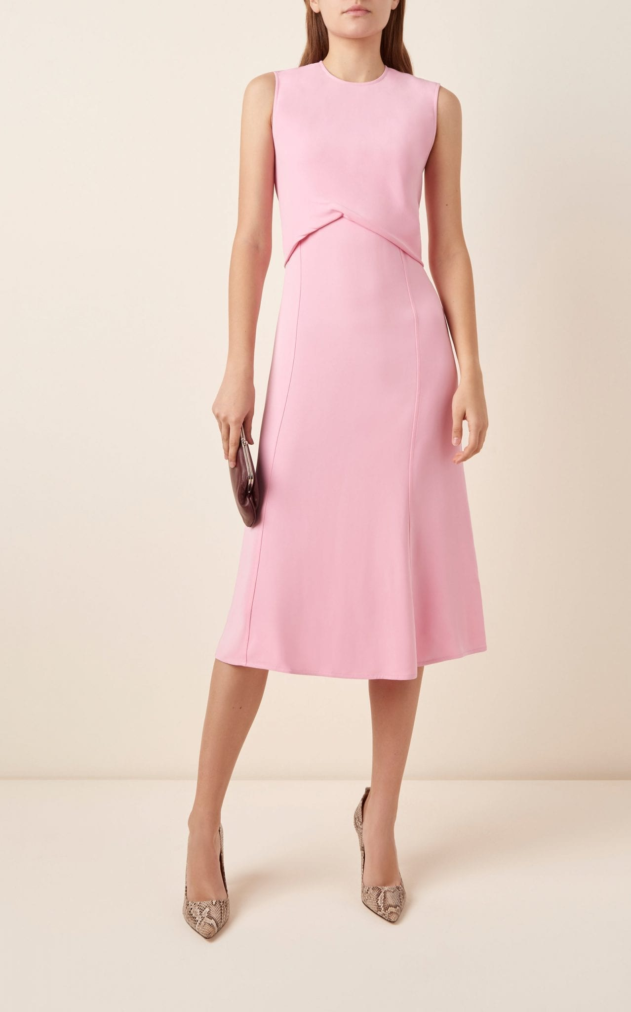 VICTORIA BECKHAM Draped Georgette Midi Dress