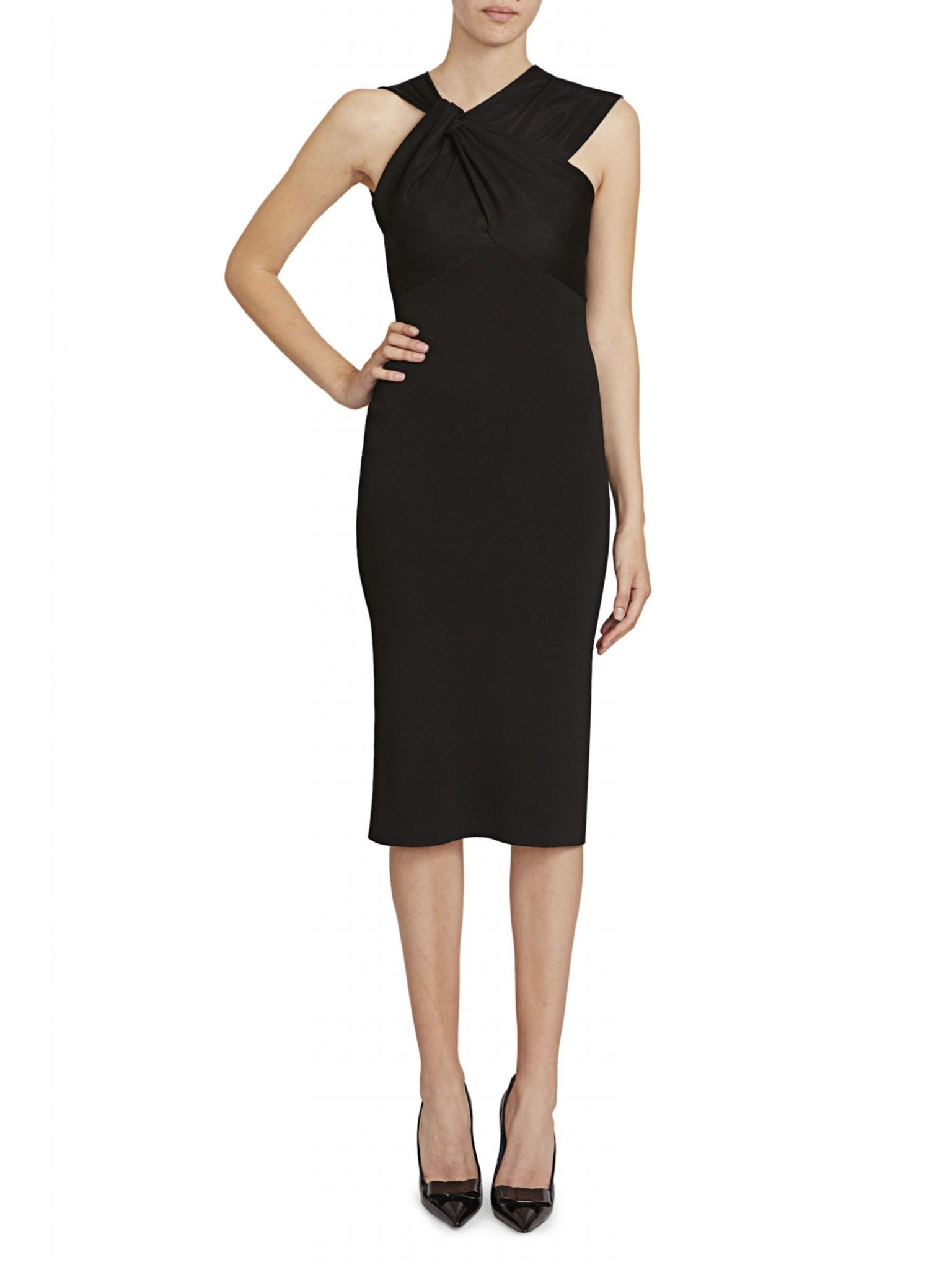 VICTORIA BECKHAM Knotted Drape Sheath Dress
