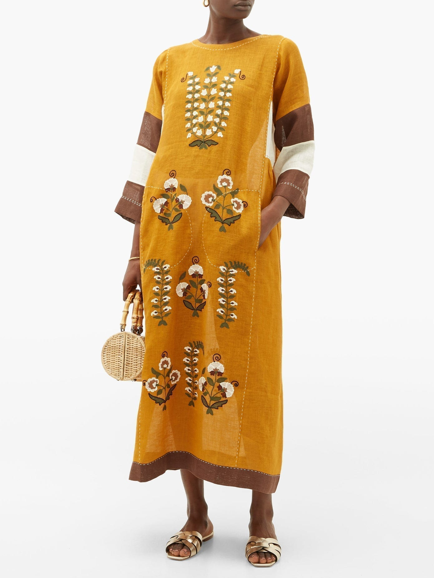 VITA KIN Patchouli Embroidered-linen Dress