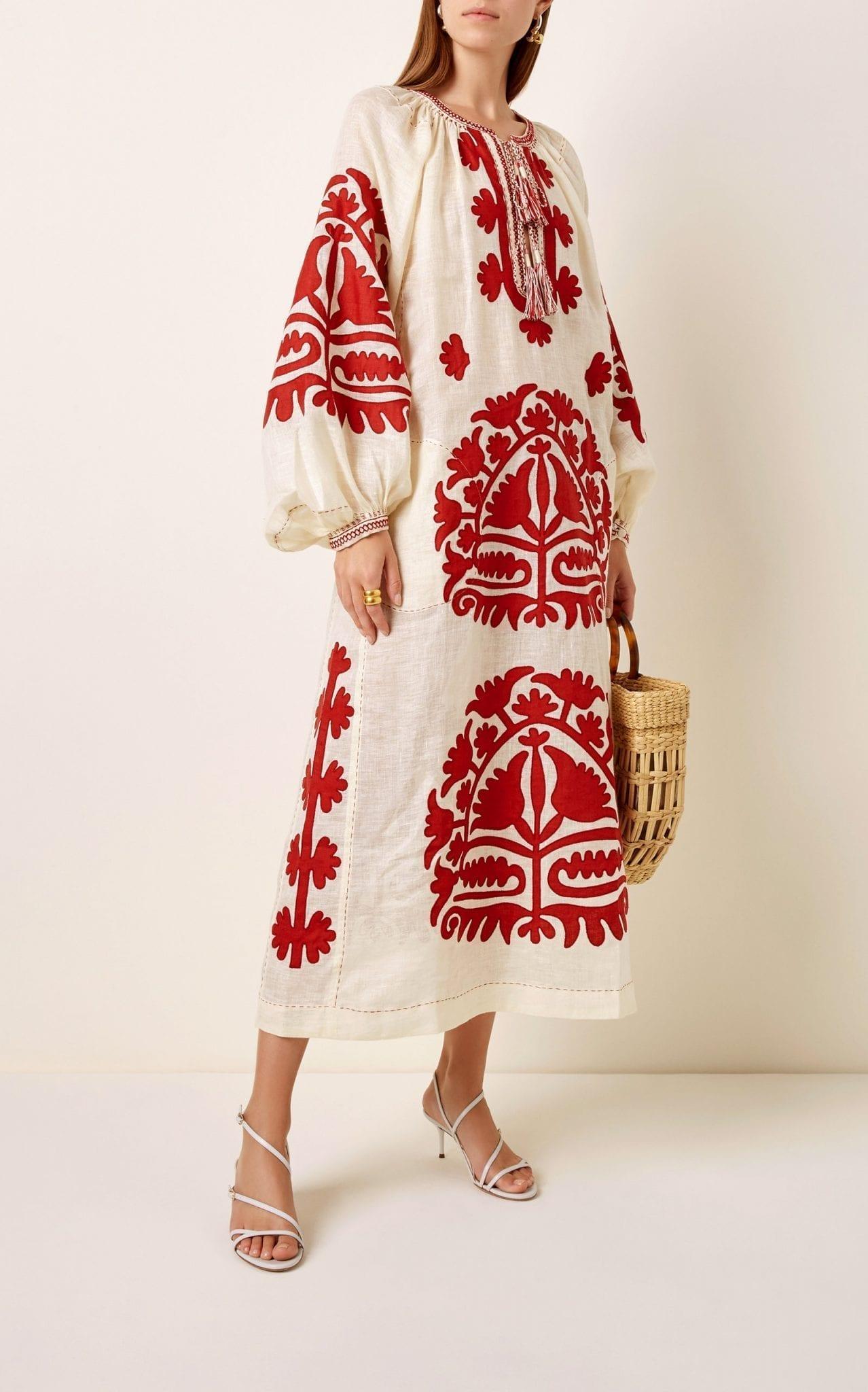 VITA KIN Shalimar Embroidered Linen Midi Dress
