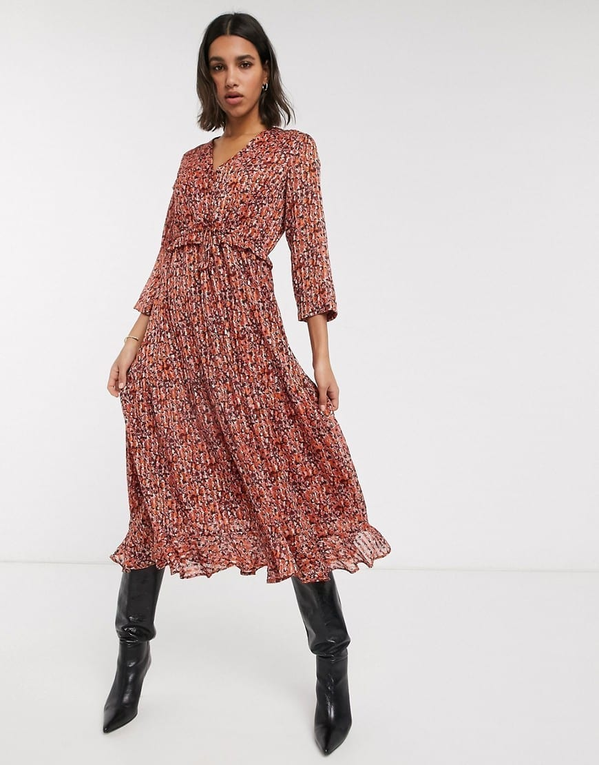 Y.A.S Ruffle Detail Chiffon Midi Dress