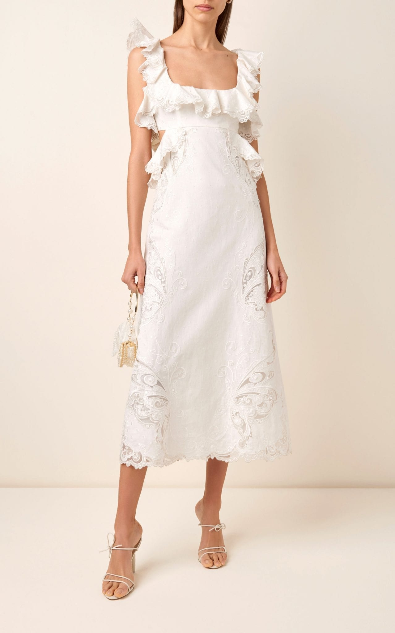 ZIMMERMANN Cutout Ruffled Silk-Blend Midi Dress