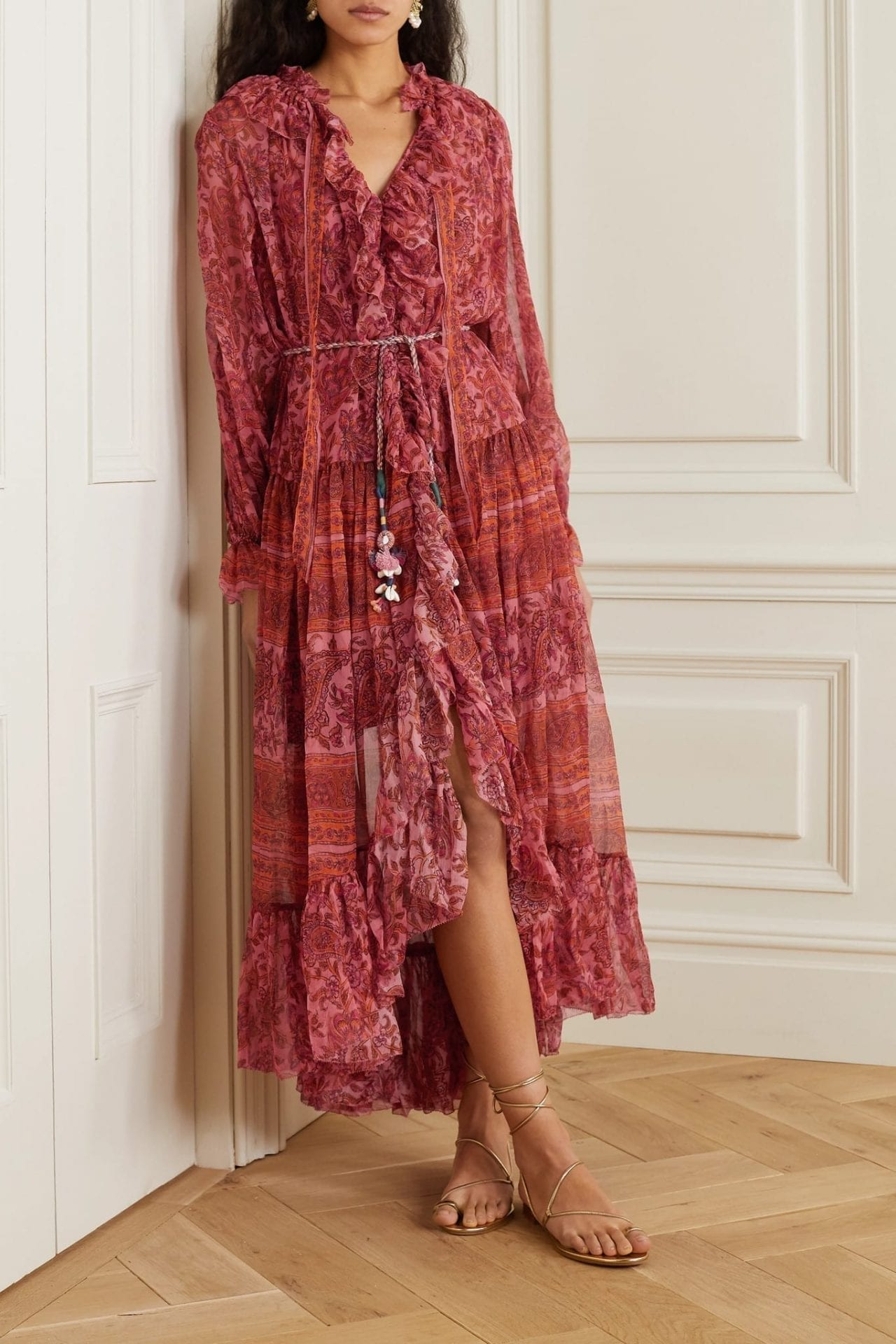 ZIMMERMANN Edie Embellished Printed Silk-chiffon Maxi Dress