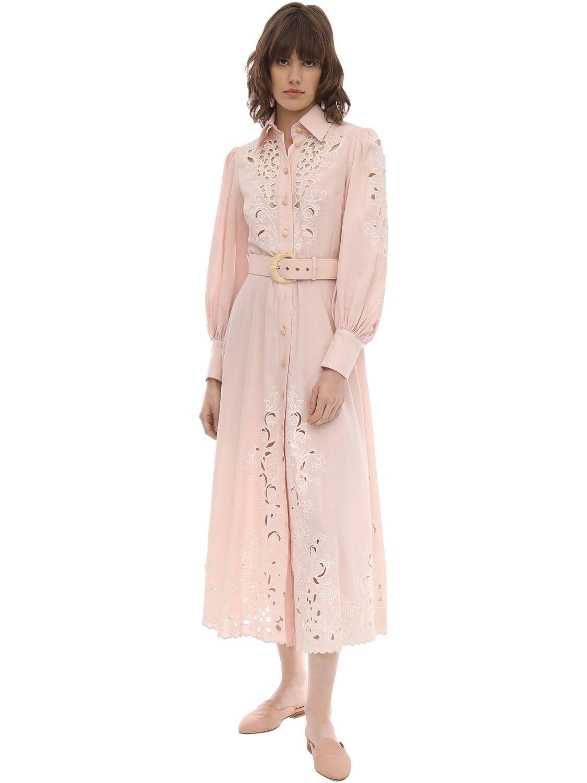 ZIMMERMANN Embroidered Linen Midi Dress