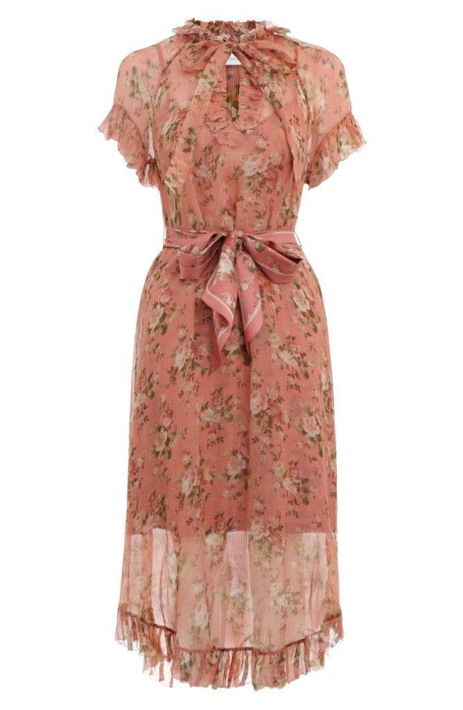 Zimmermann Espionage Frilled Floral Print Silk Midi Dress