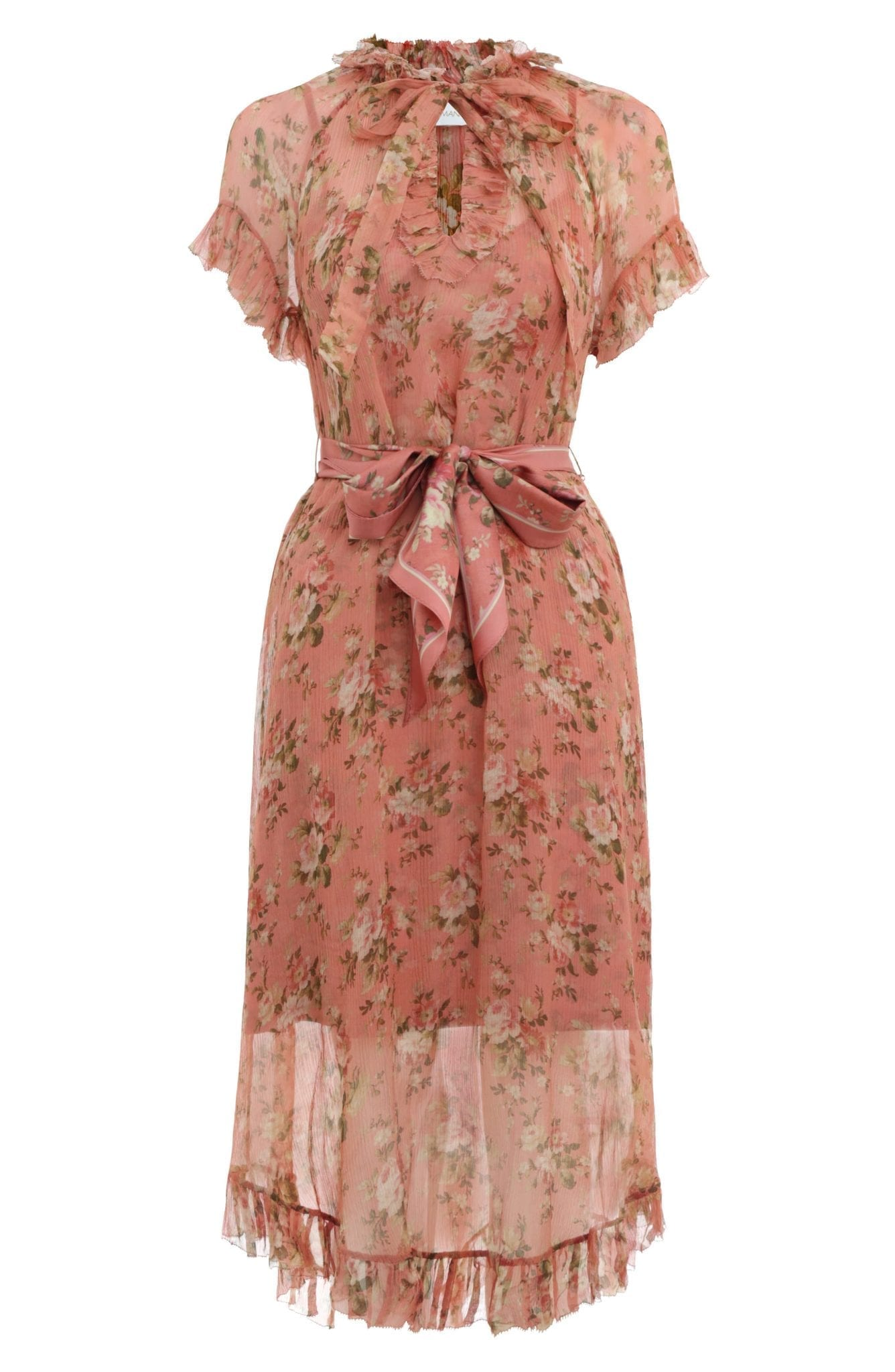 ZIMMERMANN Espionage Frilled Floral Print Silk Midi Dress