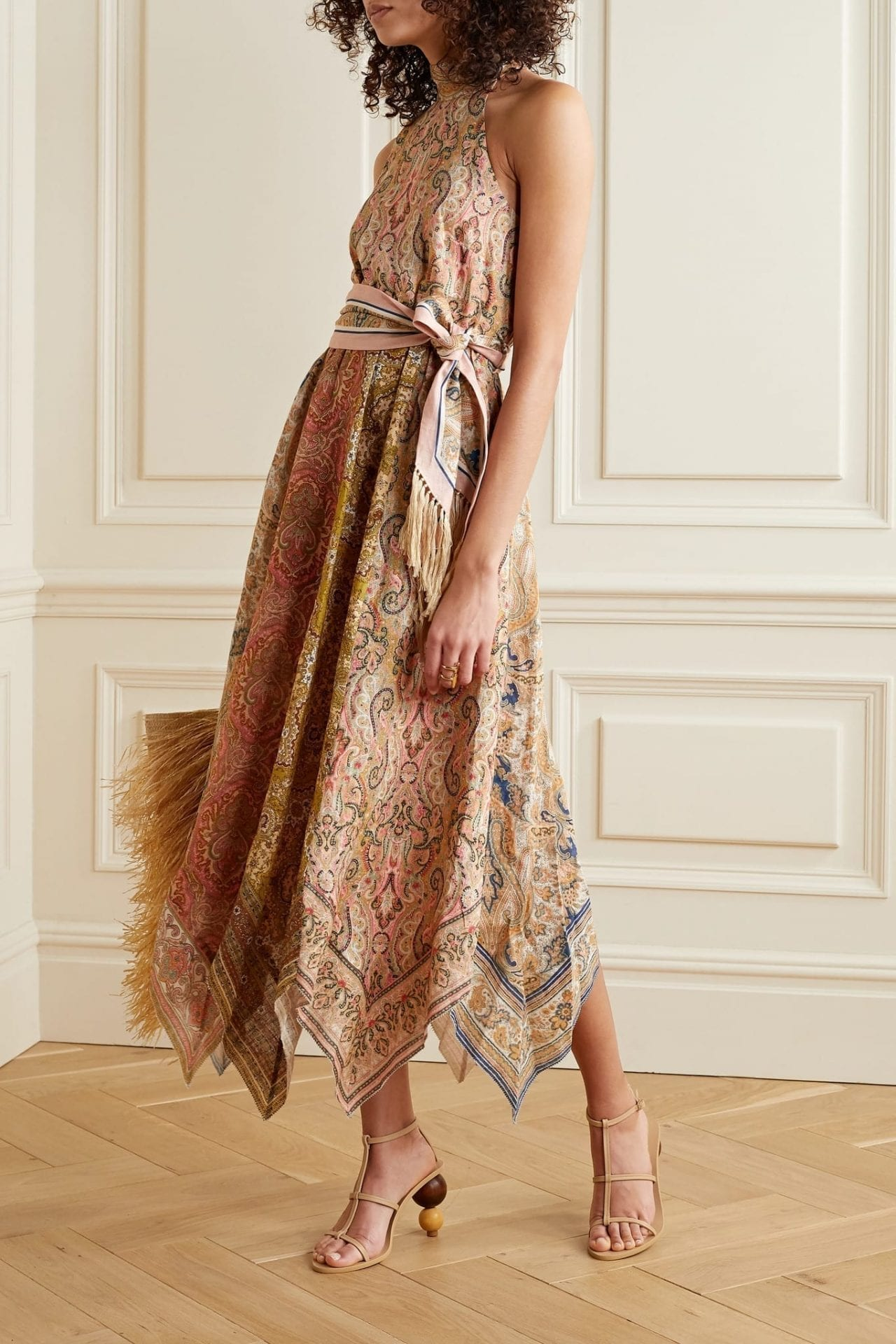 ZIMMERMANN Freja Paisley-print Linen Halterneck Midi Dress