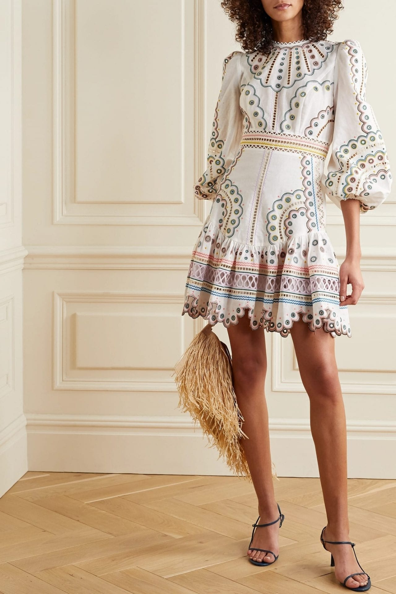 ZIMMERMANN Peggy Broderie Anglaise Linen And Cotton-blend Mini Dress