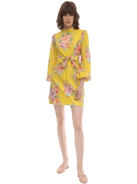 ZIMMERMANN Printed Linen Cut Outs Mini Dress