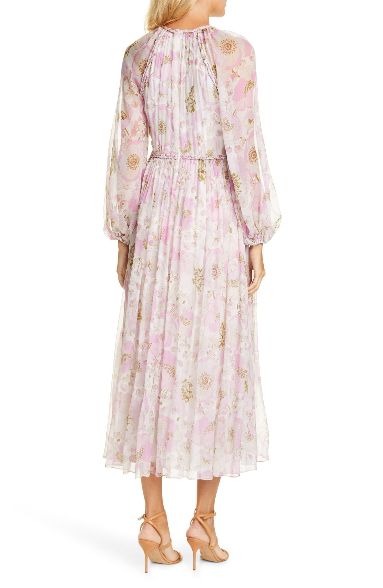 ZIMMERMANN Super Eight Floral Print Silk Long Sleeve Tea Length Dress