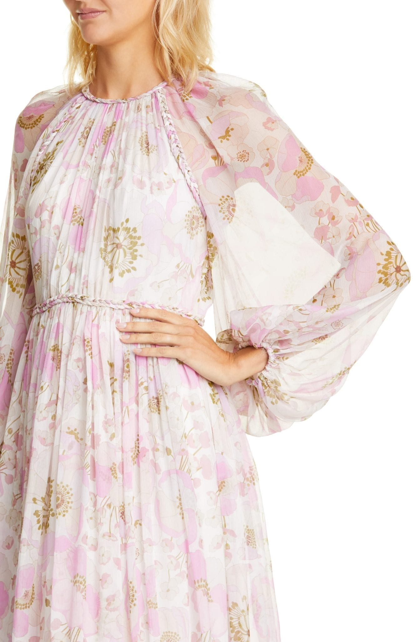 ZIMMERMANN Super Eight Floral Print Silk Long Sleeve Tea Length Dress