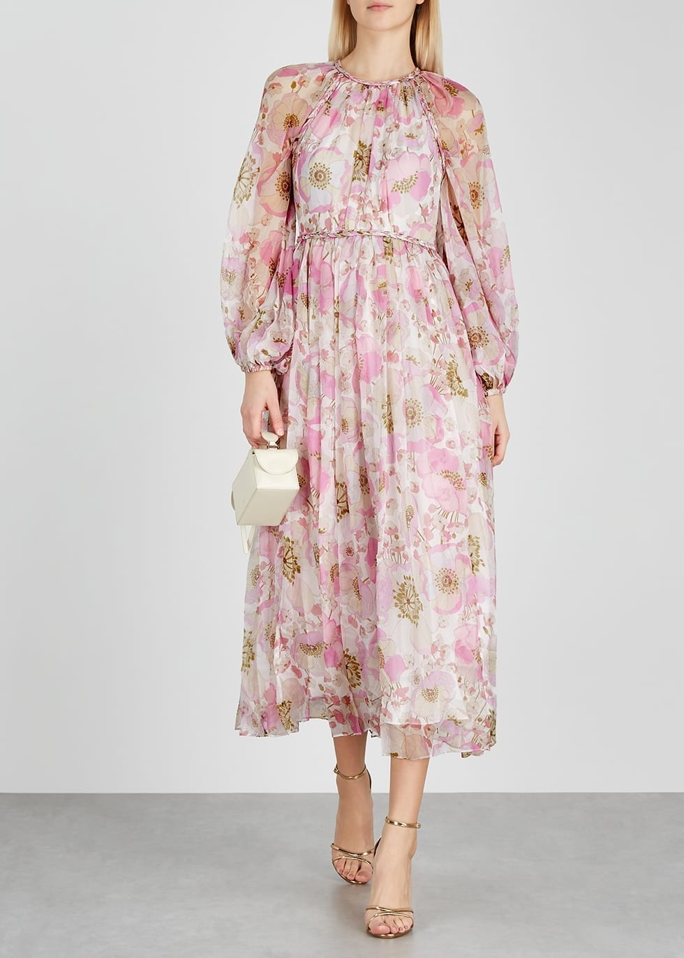 ZIMMERMANN Super Eight Floral-print Silk Midi Dress