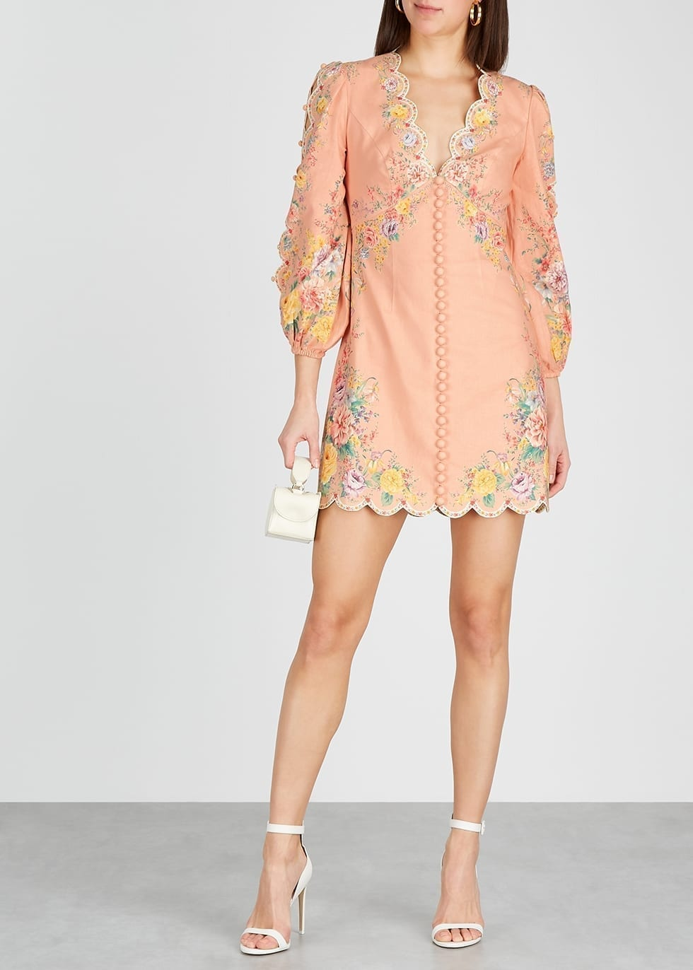 ZIMMERMANN Zinnia Printed Linen-blend Mini Dress