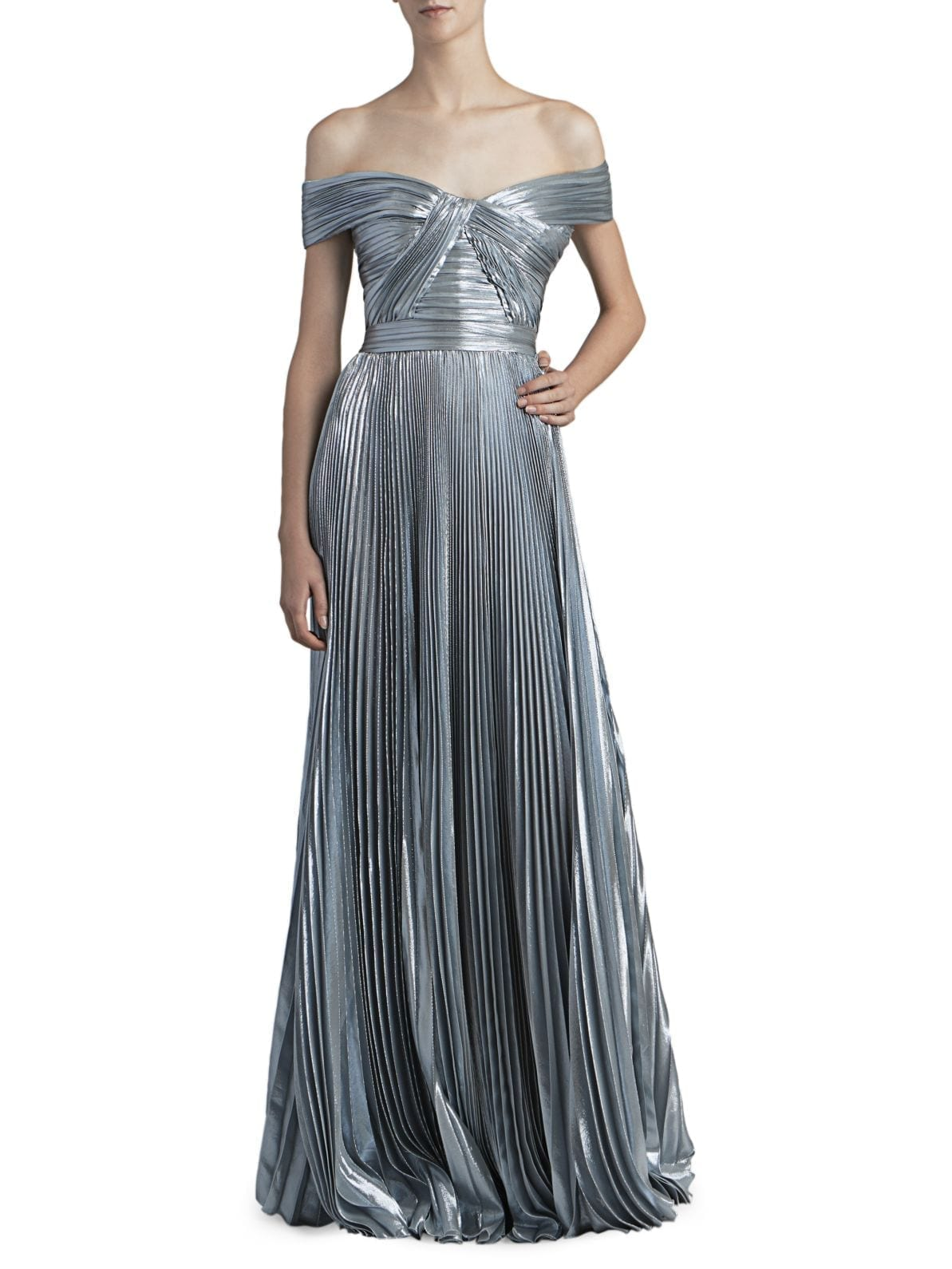 ZUHAIR MURAD Azdorado Off-The-Shoulder Plissé Gown