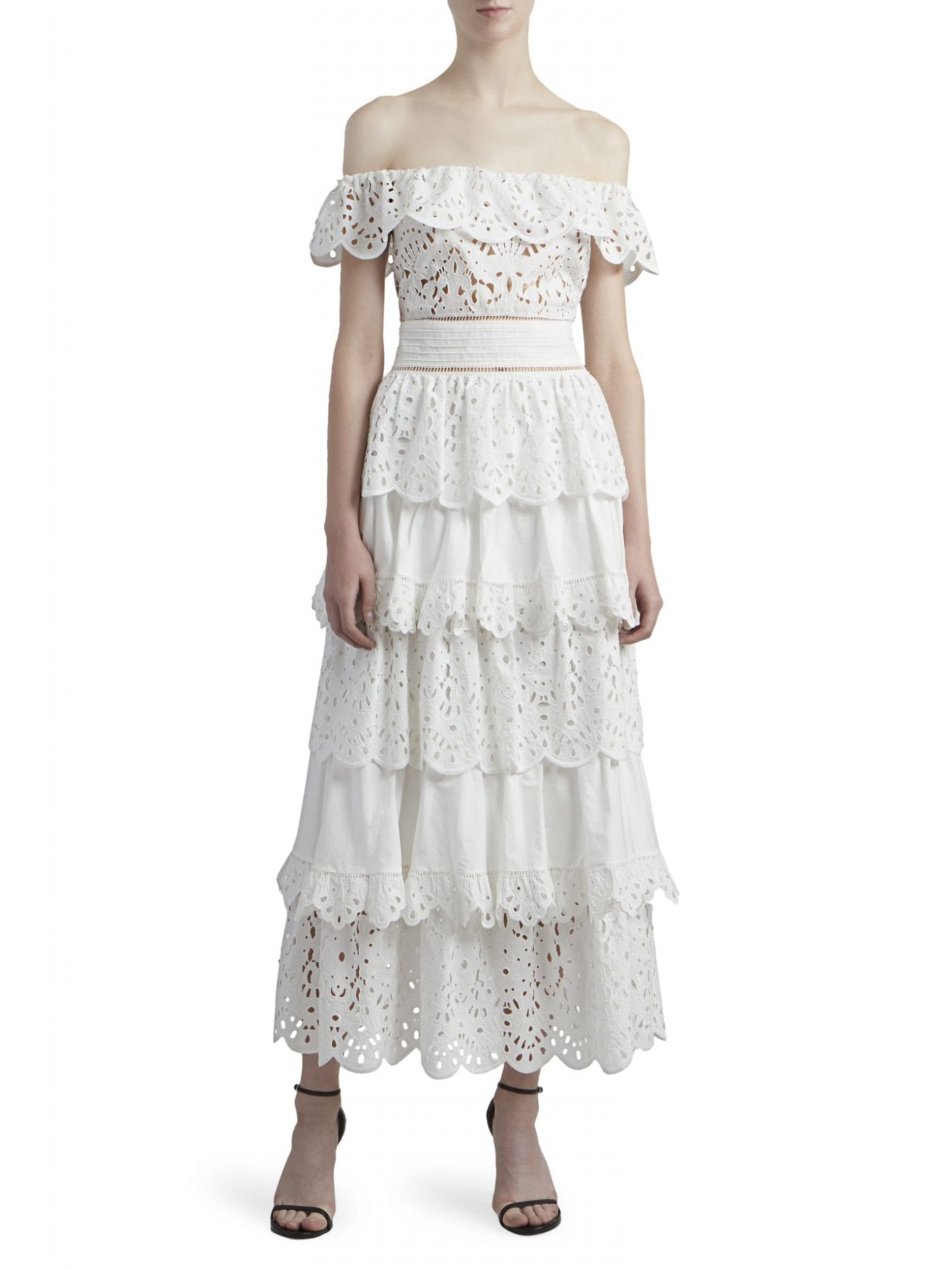 ZUHAIR MURAD Pedro Tiered Cotton Ruffle Dress