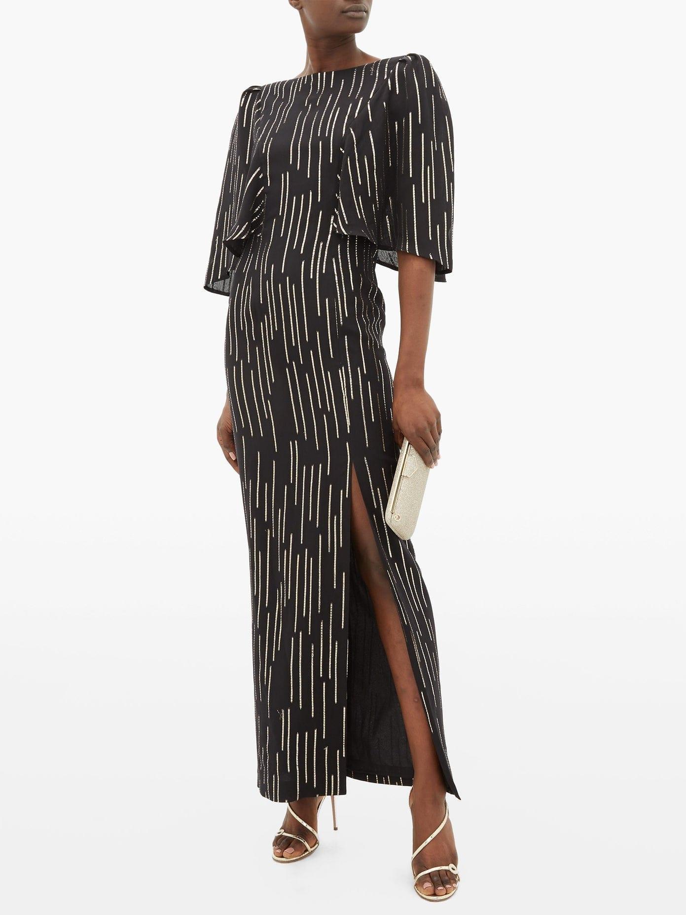 ADRIANA IGLESIAS Taylor Lamé-Striped Silk-Blend Dress