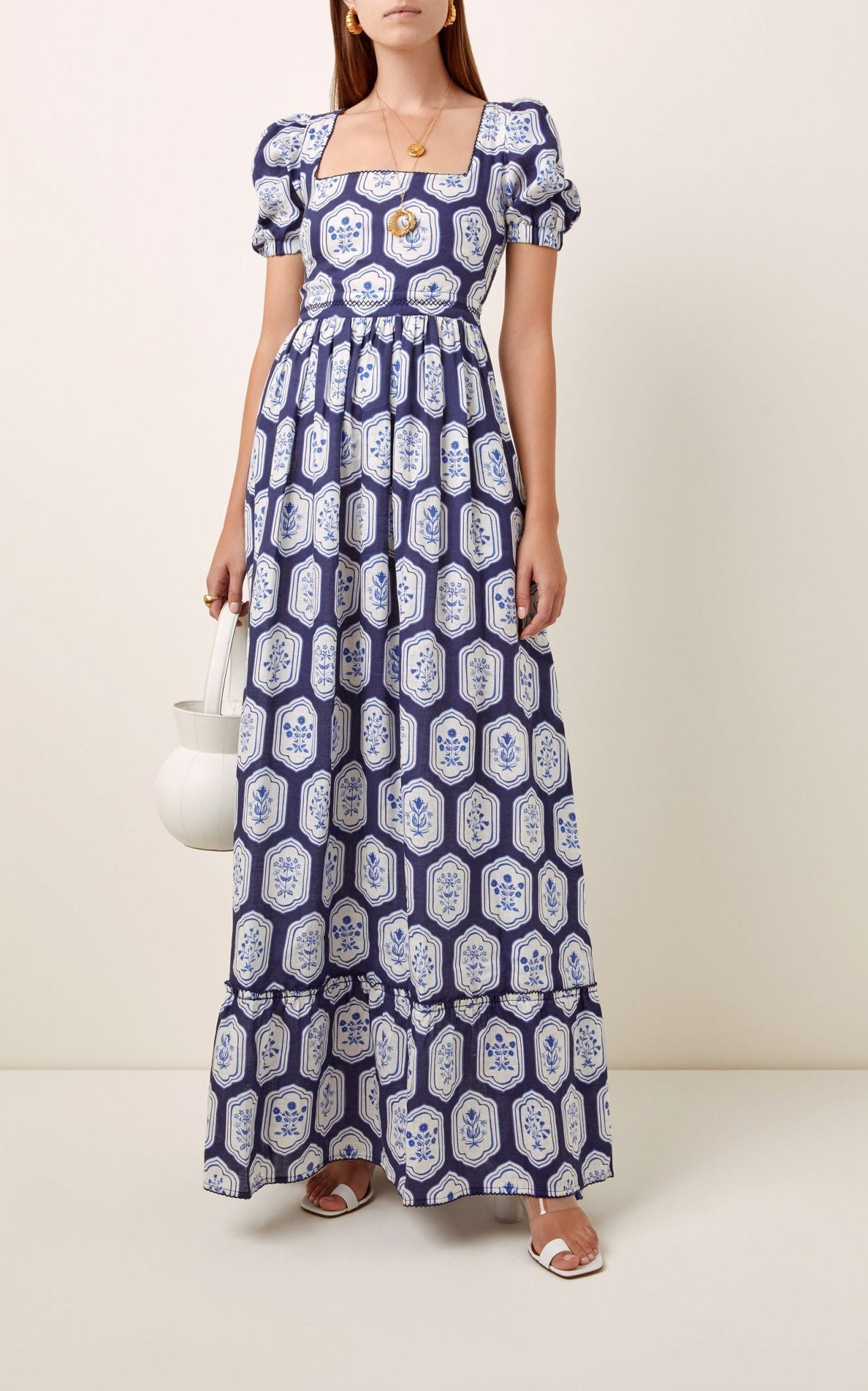 AGUA BY AGUA BENDITA Pomelo Floral-Printed Linen Maxi Dress
