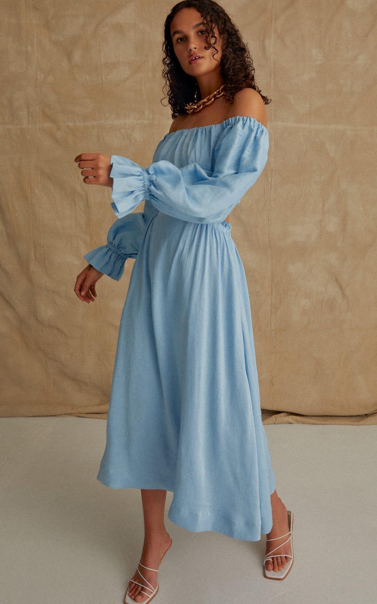 AJE Overture Silk-Linen Blend Midi Dress