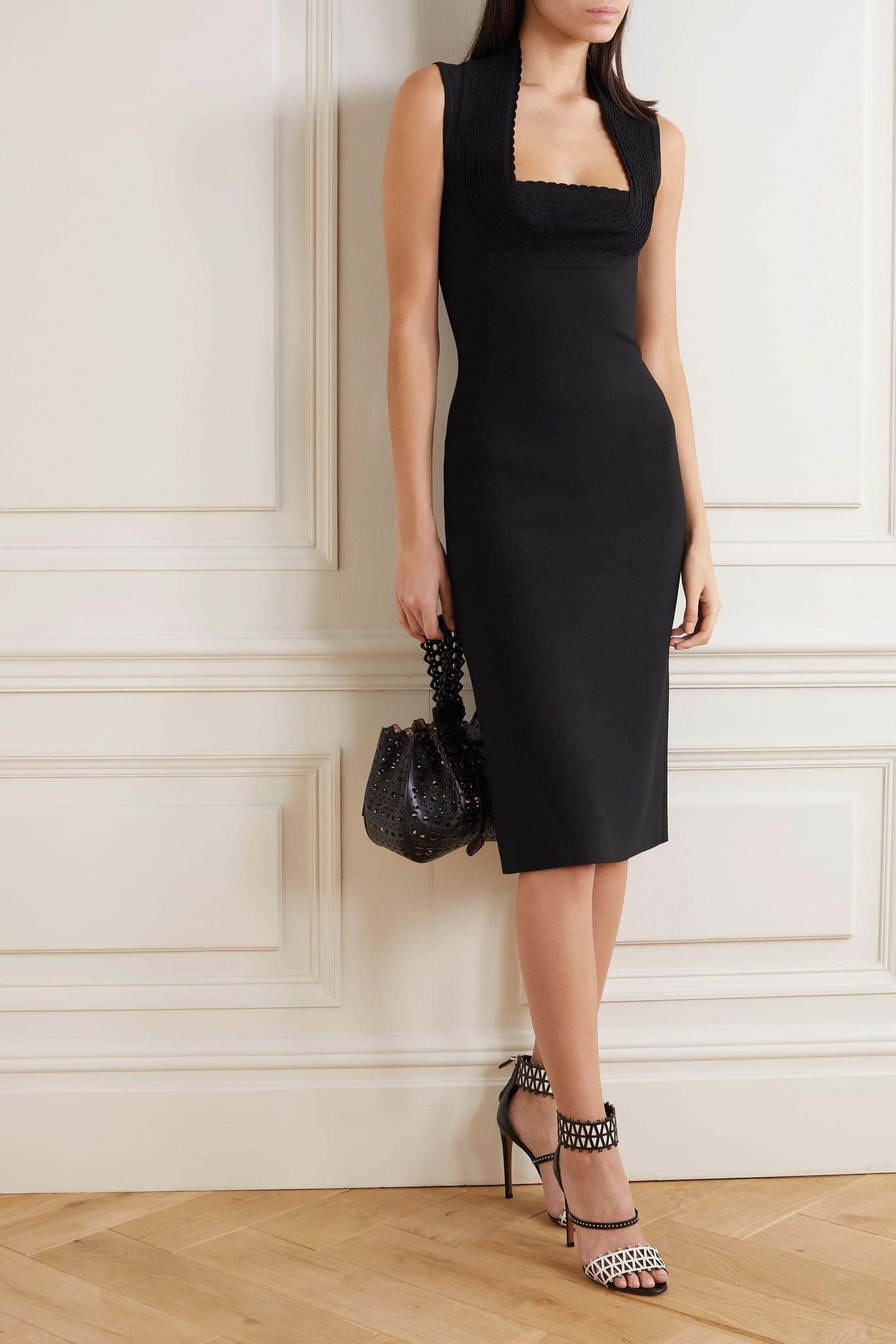ALAÏA Scalloped Stretch-knit Midi Dress