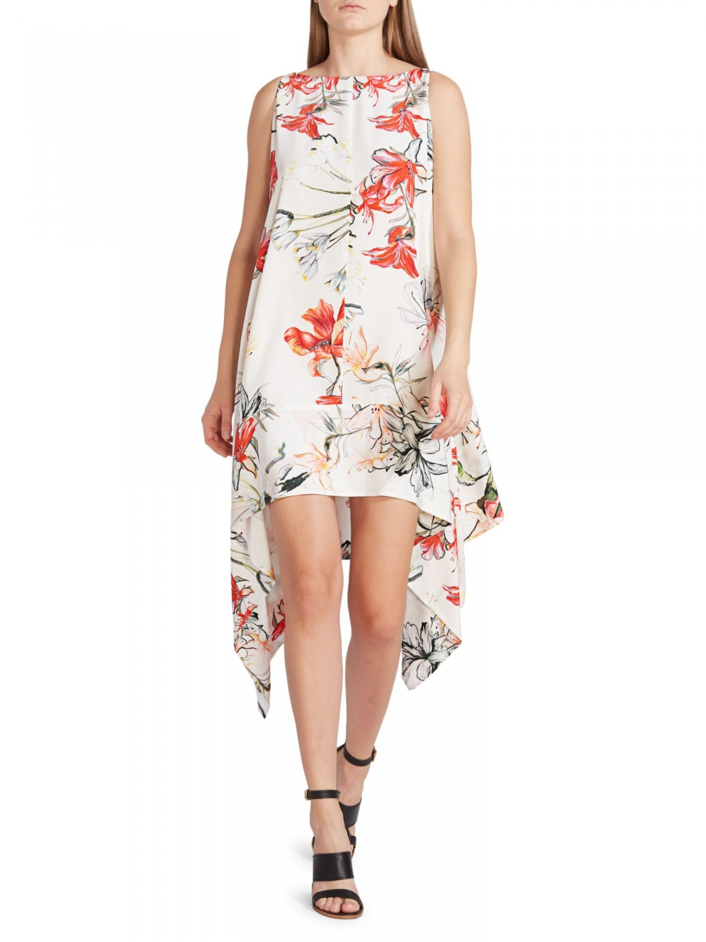 ALEXANDER MCQUEEN New Day Floral Silk Handkerchief Dress
