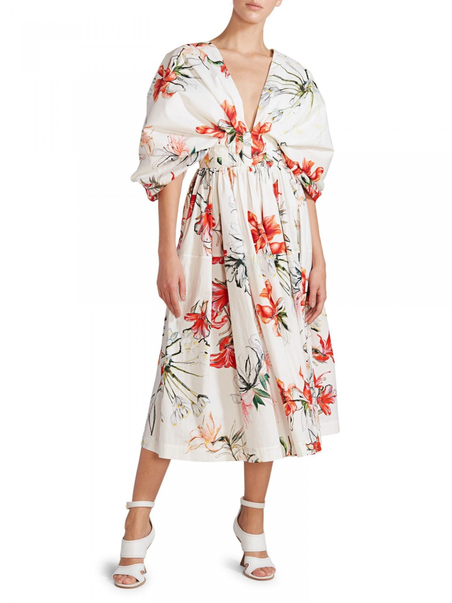 ALEXANDER MCQUEEN Printed Eternal Florals Midi Dress
